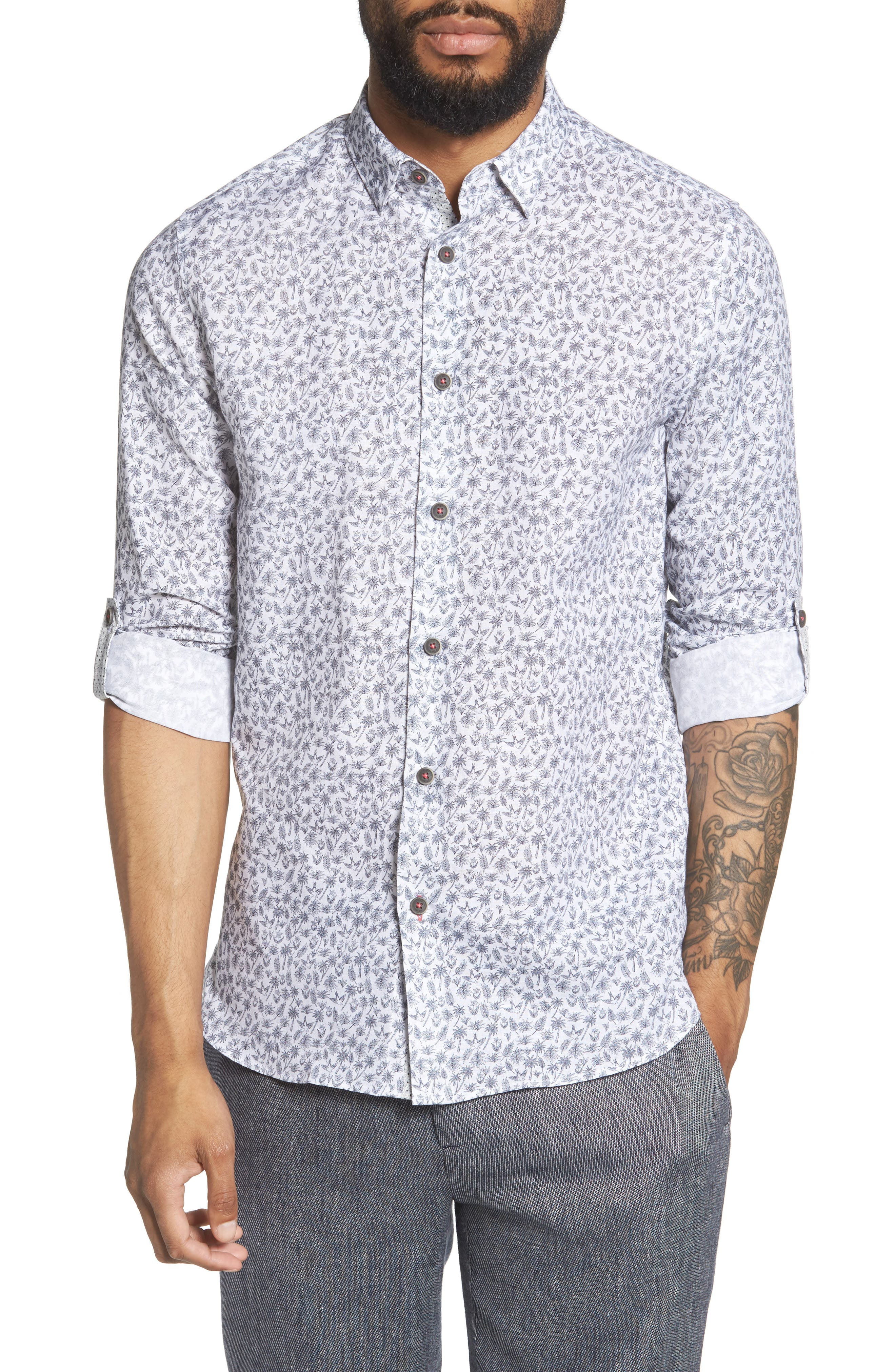Ted Baker London Nazta Trim Fit Tropical Print Sport Shirt