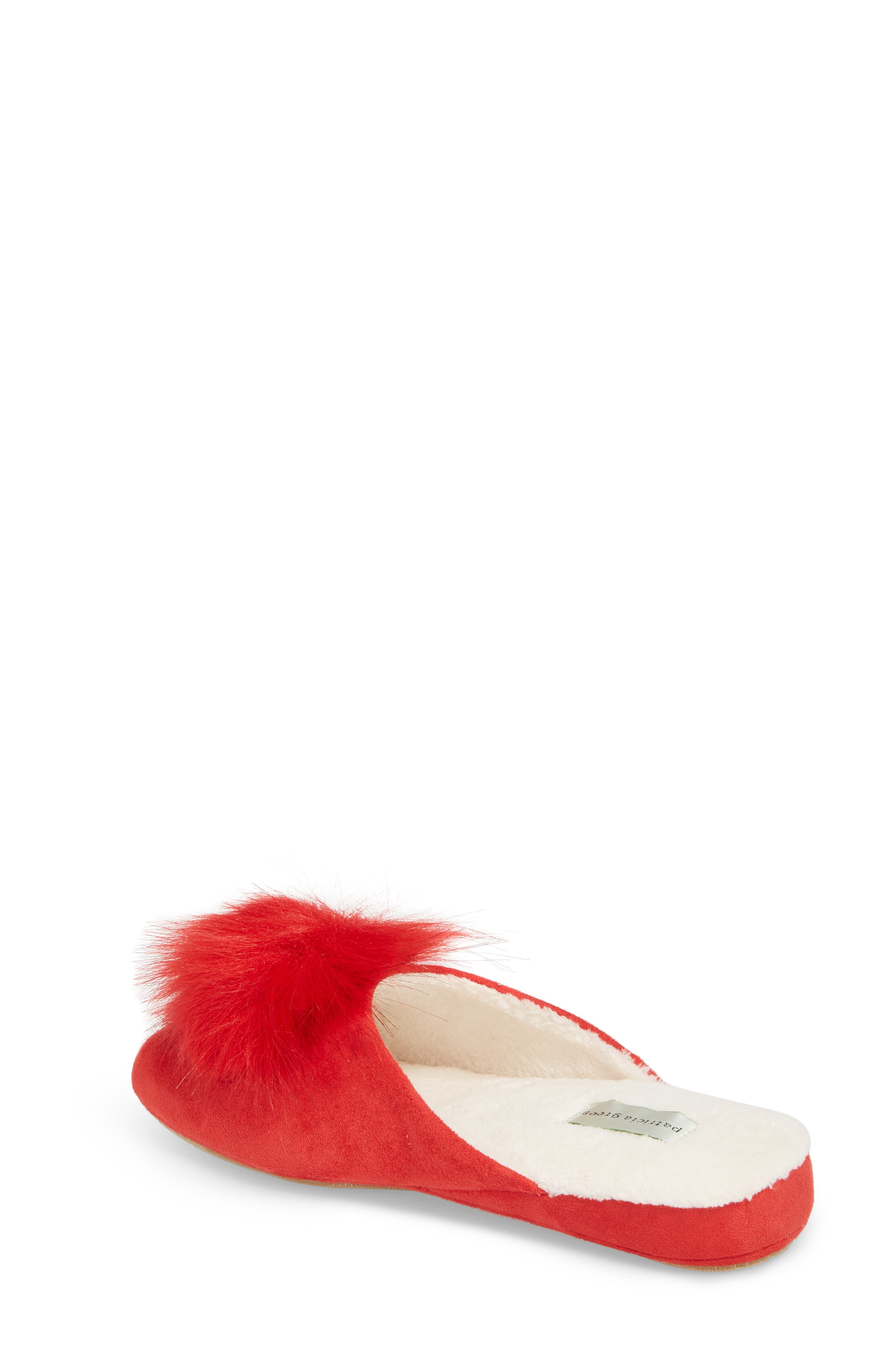 Pretty Pouf Slipper,                             Alternate thumbnail 2, color,                             Red Fabric