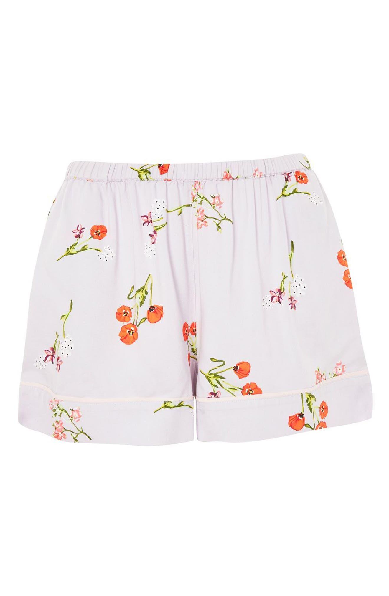 Poppy Pajama Shorts,                             Alternate thumbnail 3, color,                             Light Blue Multi