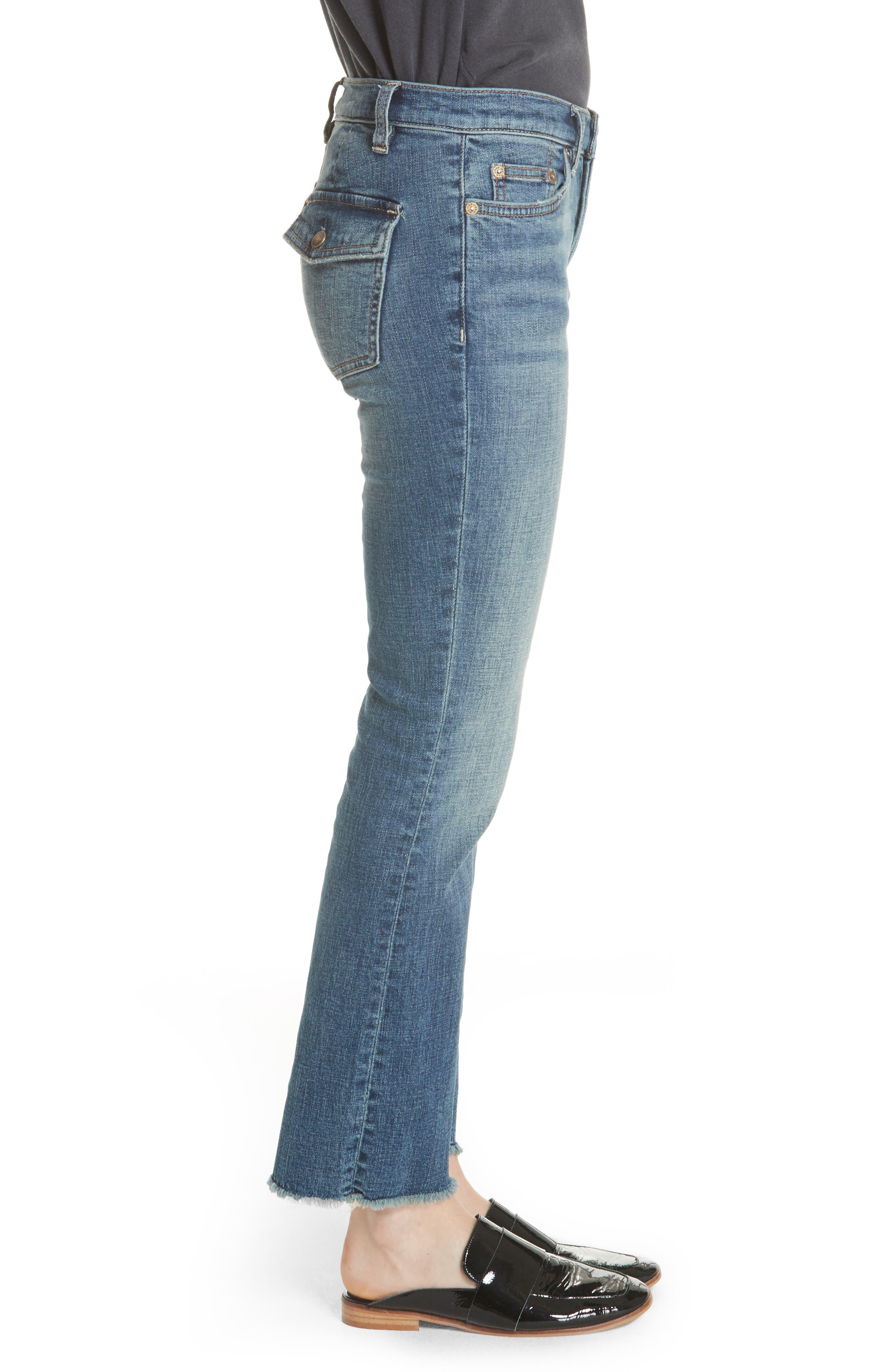 Austin Raw Hem Ankle Jeans,                             Alternate thumbnail 3, color,                             Blue