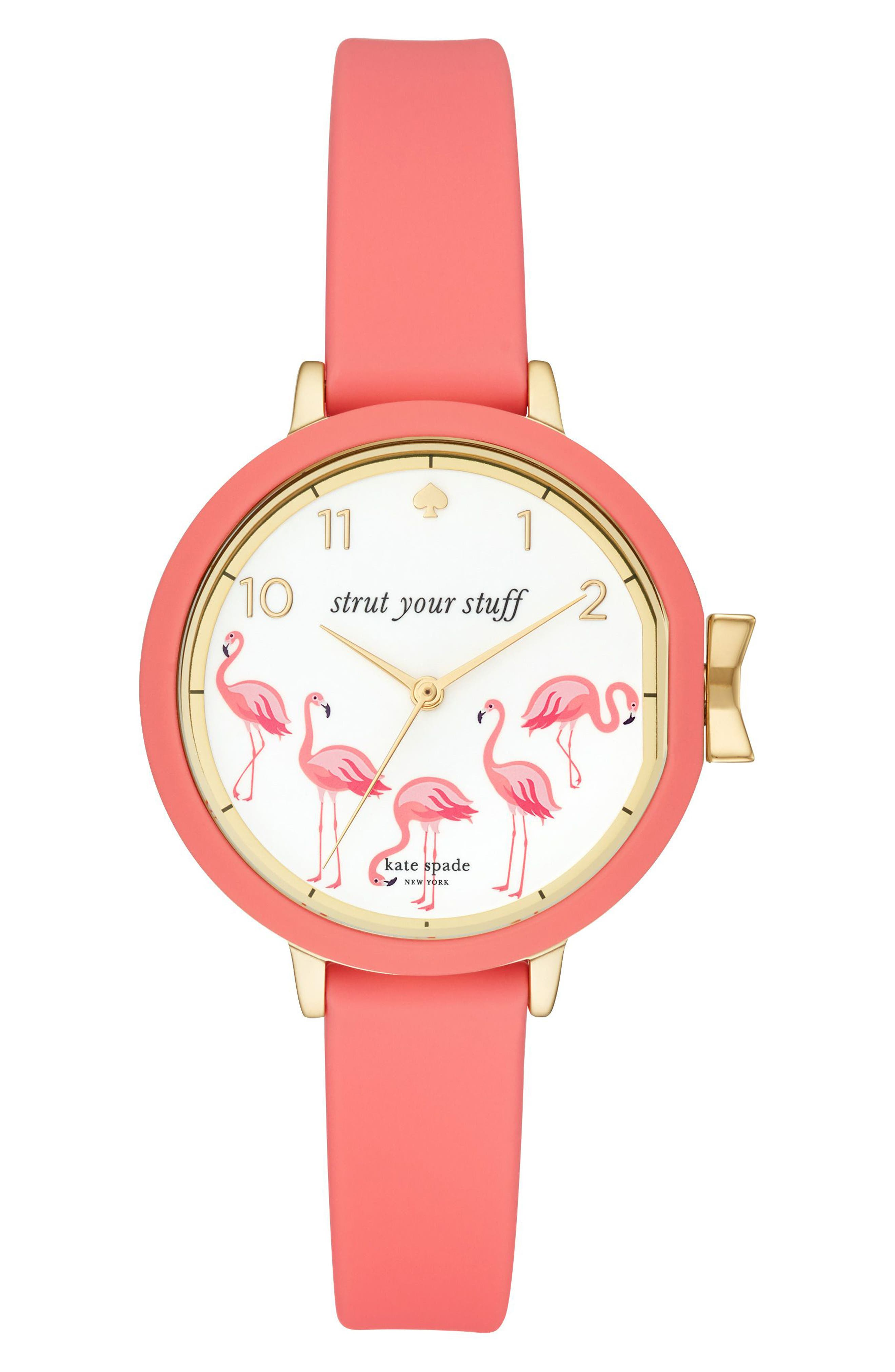 park row silicone strap watch, 34mm,                         Main,                         color, Pink/ White/ Gold