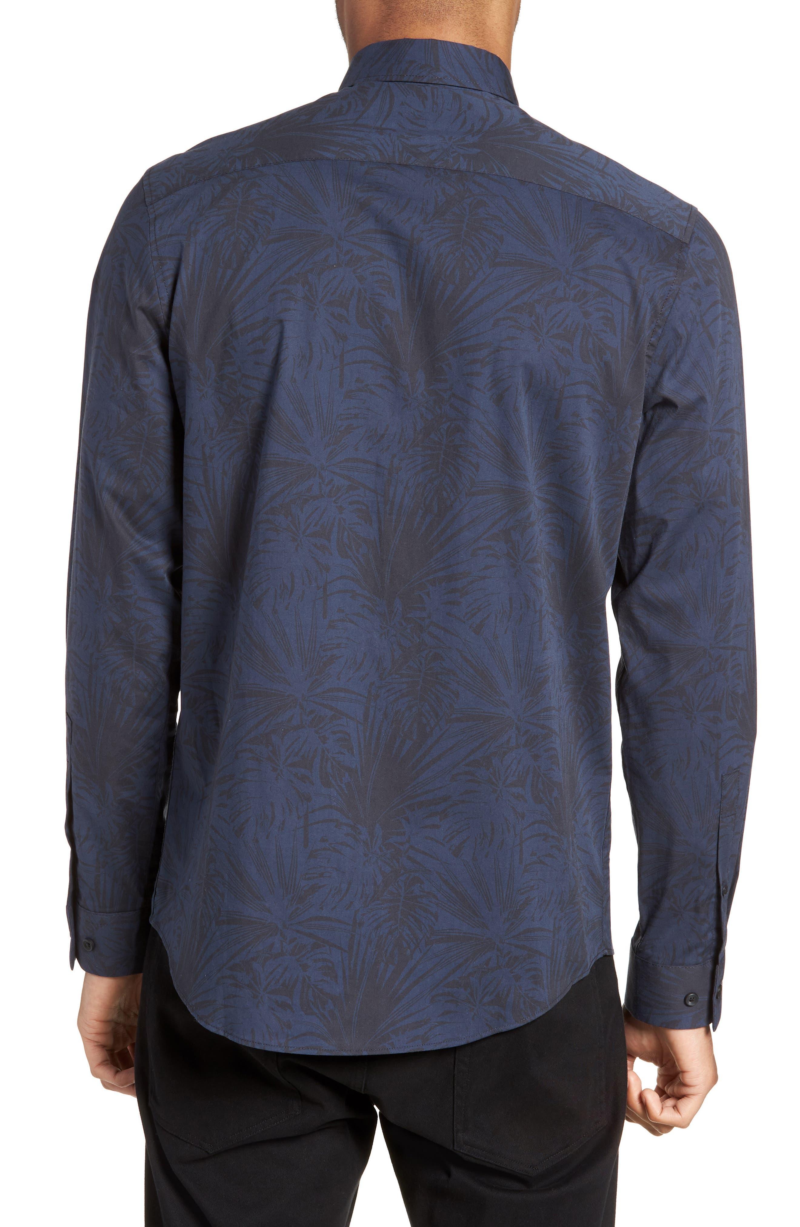 Trim Fit Stretch Print Sport Shirt,                             Alternate thumbnail 3, color,                             Black Navy Palm