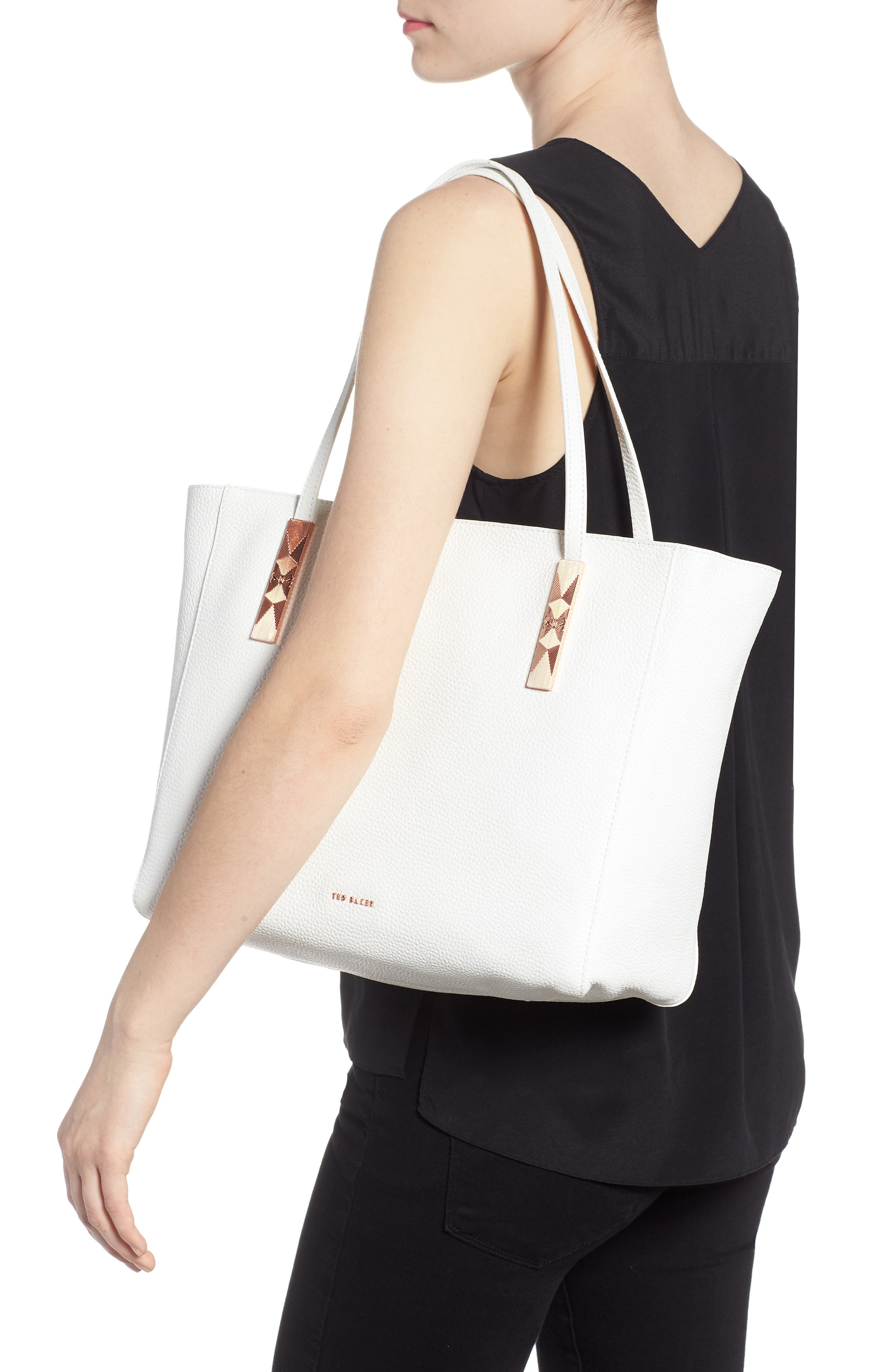 Pebbled Leather Tote,                             Alternate thumbnail 2, color,                             White