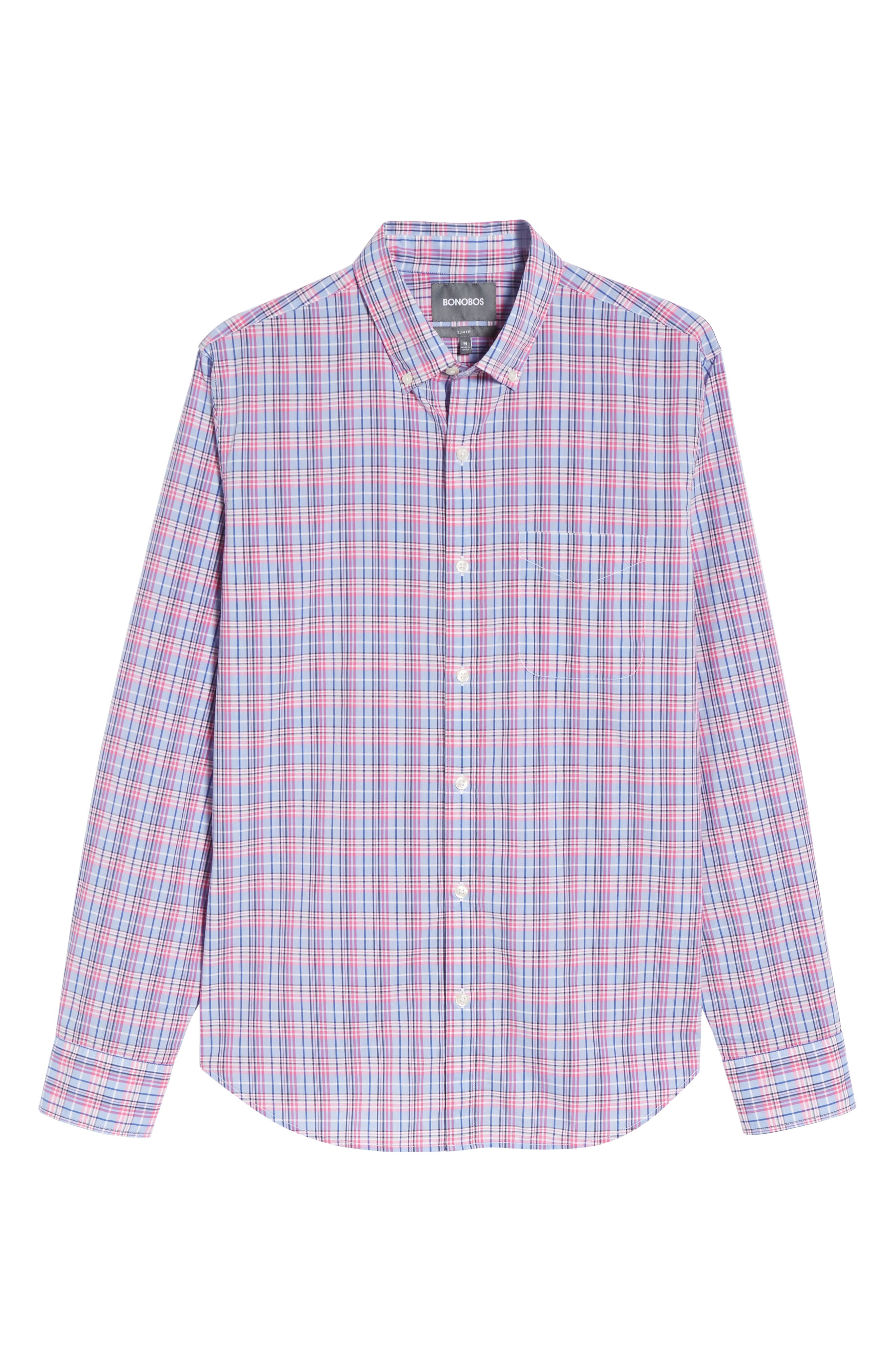 Summerweight Slim Fit Plaid Sport Shirt,                             Alternate thumbnail 6, color,                             Basswood Plaid - Pink Rocket