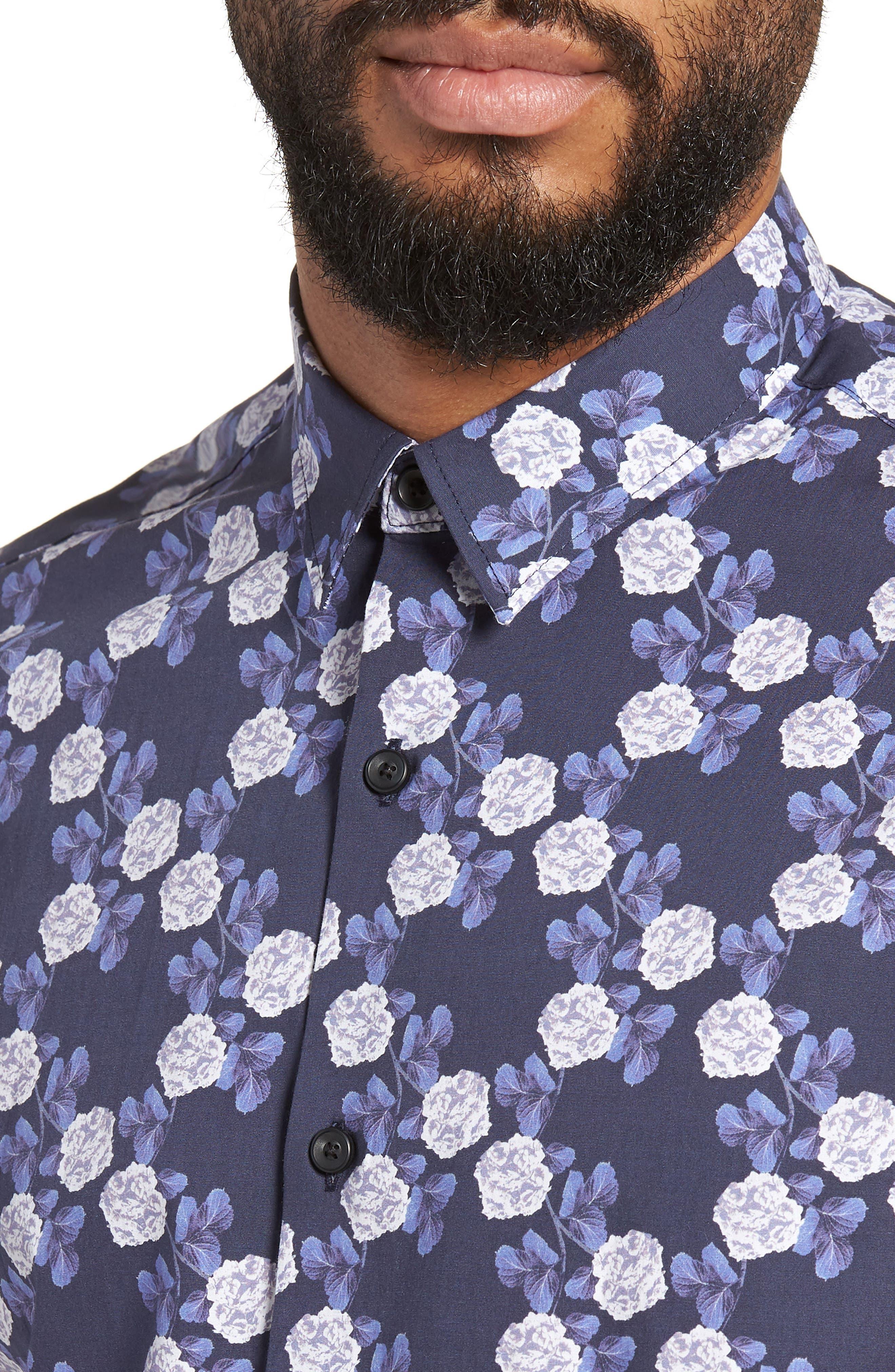Trim Fit Short Sleeve Sport Shirt,                             Alternate thumbnail 2, color,                             Blue Flower Print
