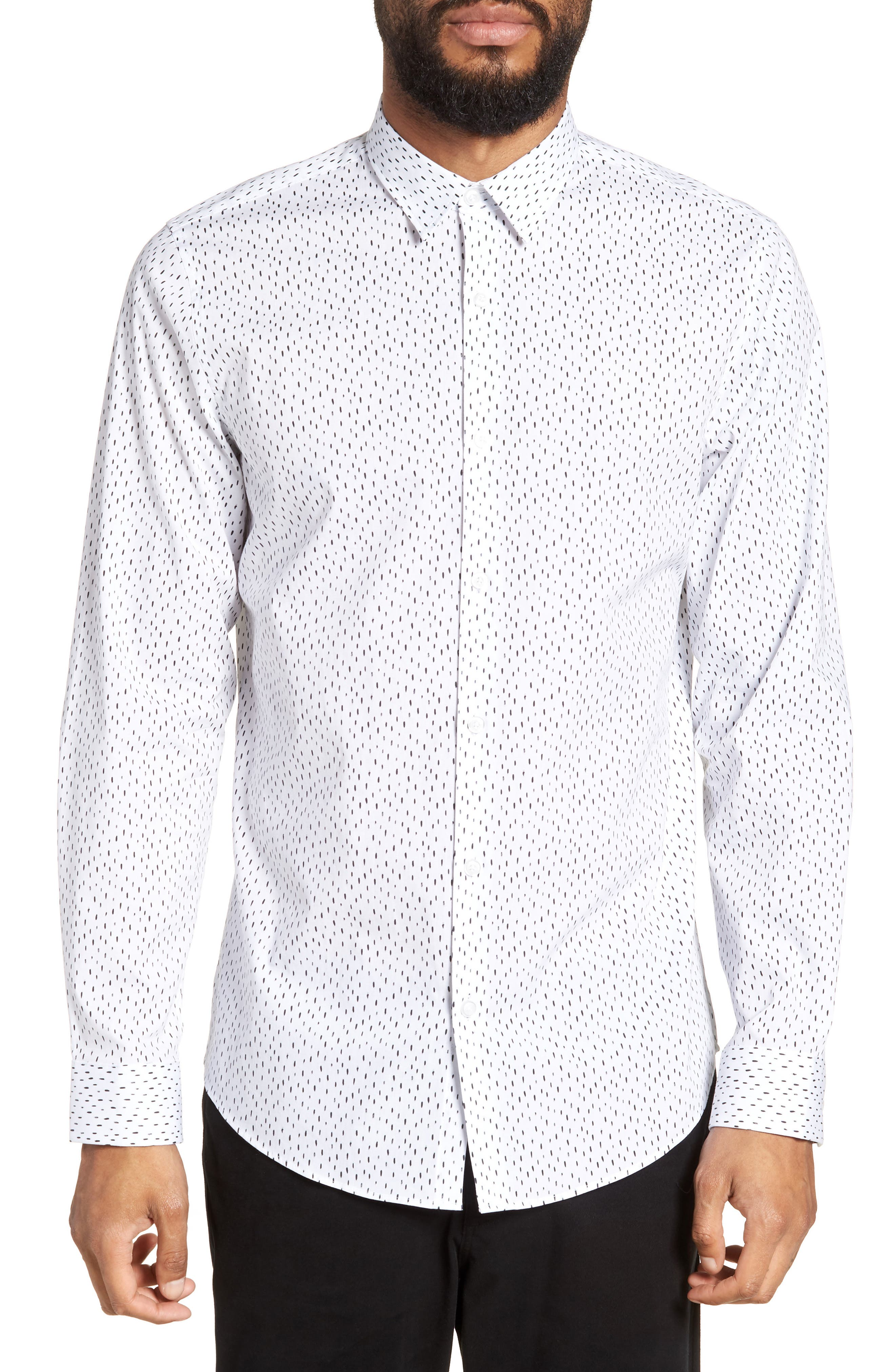Trim Fit Stretch Print Sport Shirt,                             Main thumbnail 1, color,                             White Black Rain