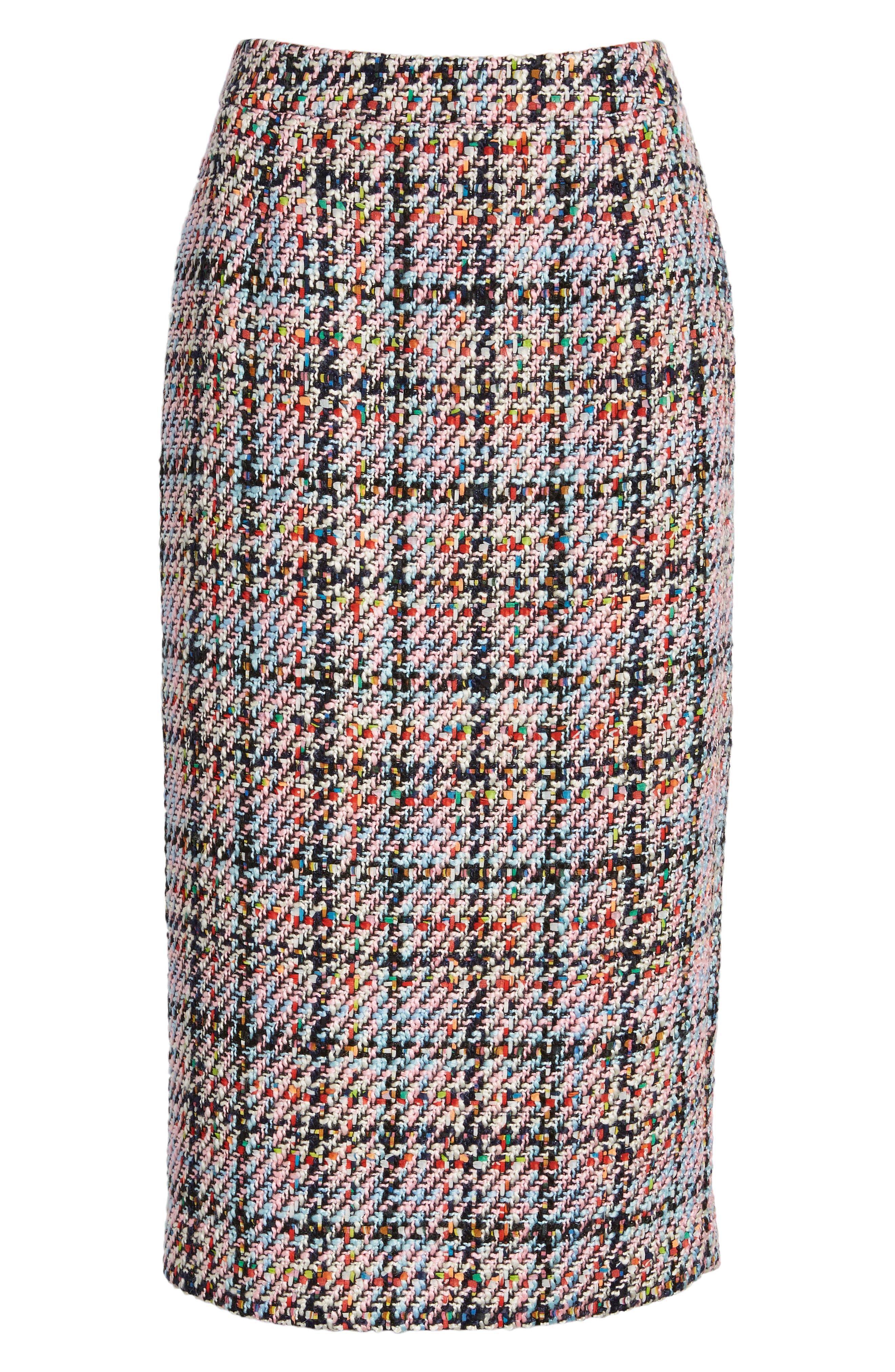 Tweed Midi Skirt,                             Alternate thumbnail 6, color,                             Pink Multi Tweed