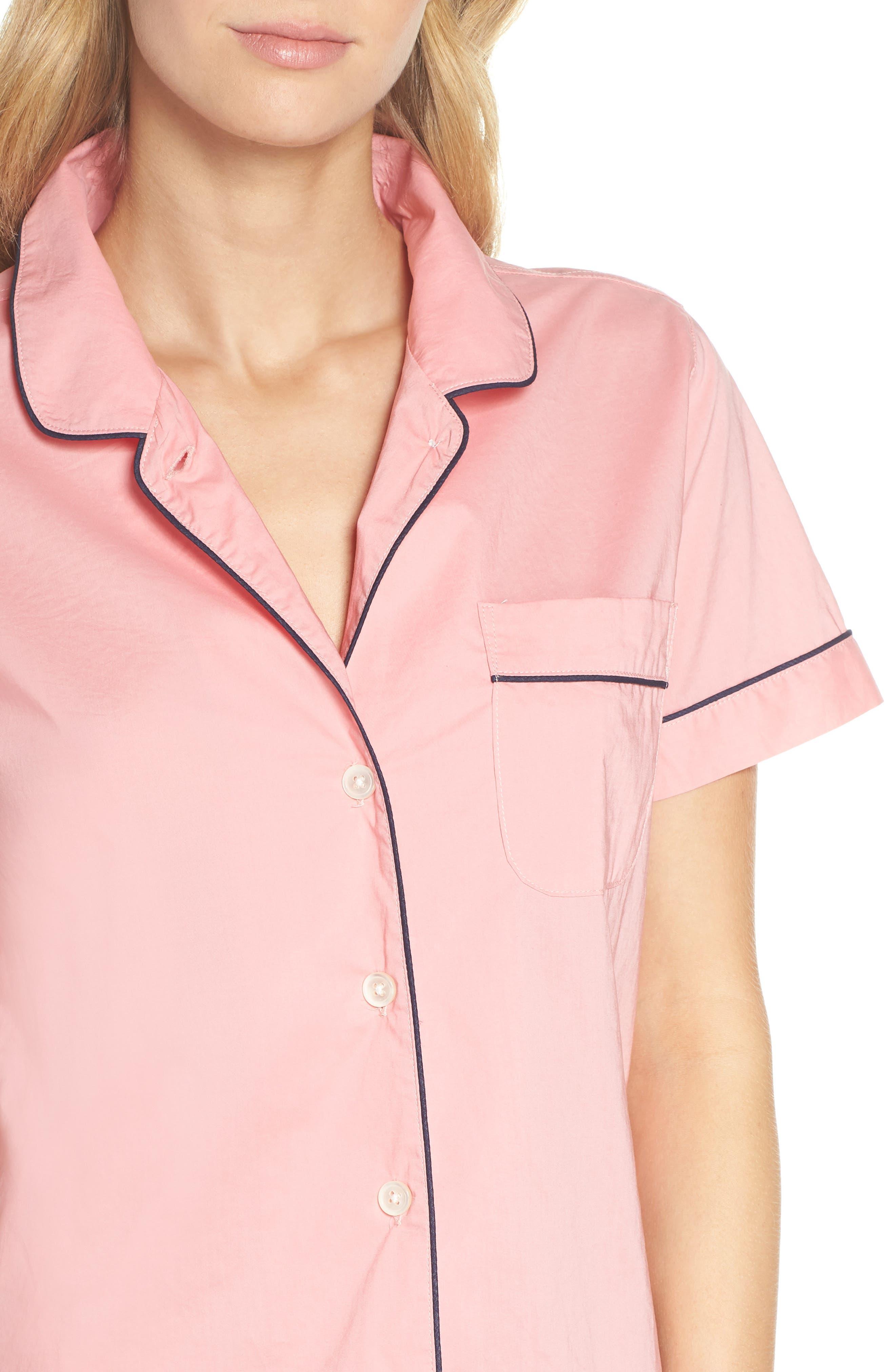 Tipped Short Pajamas,                             Alternate thumbnail 4, color,                             Cool Pink