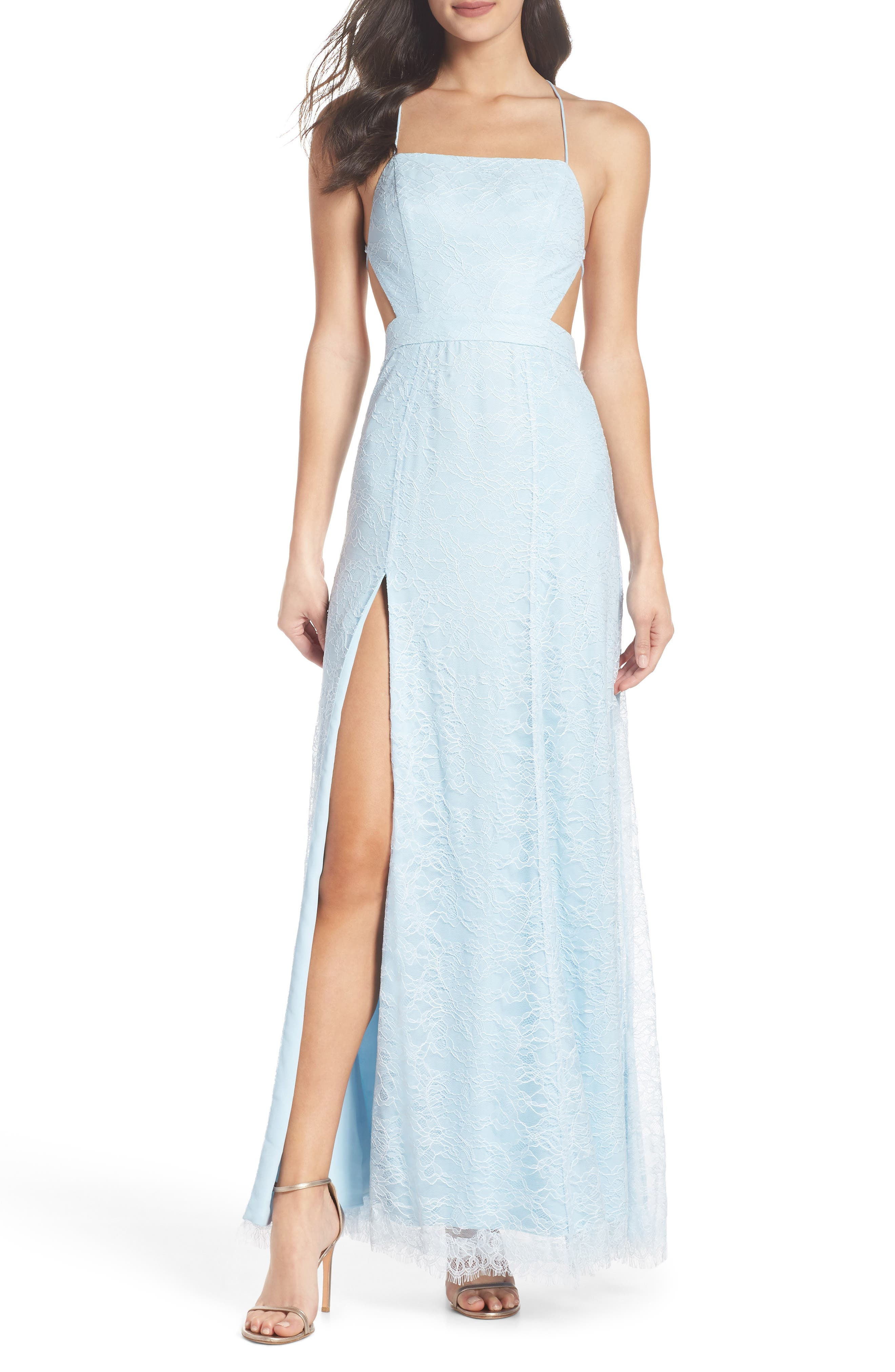 The Adella Lace Gown,                         Main,                         color, Pale Blue