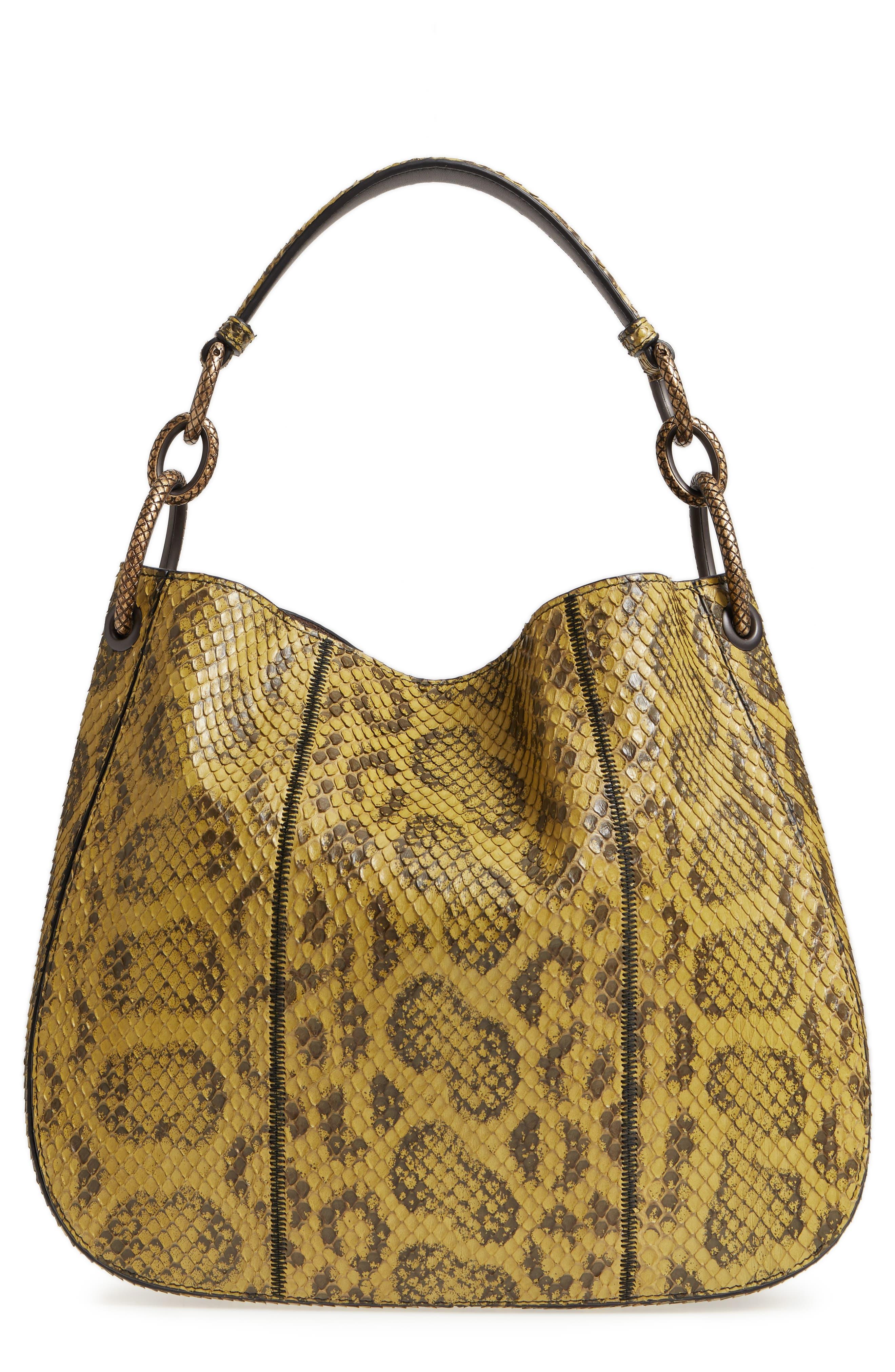 Small Loop Genuine Anaconda Snakeskin Leather Hobo - Yellow, Blackgold