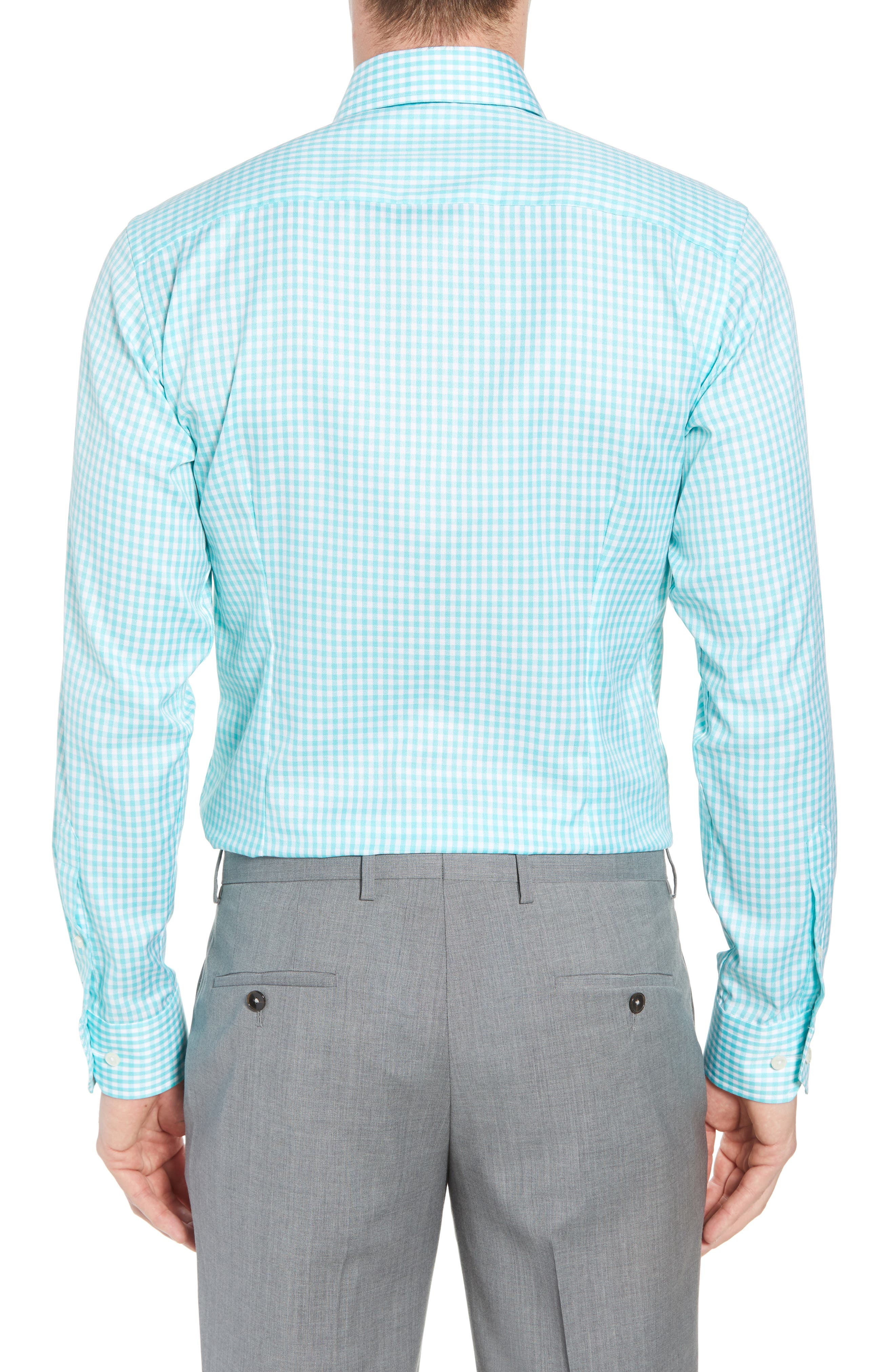 Contemporary Fit Check Dress Shirt,                             Alternate thumbnail 3, color,                             Teal