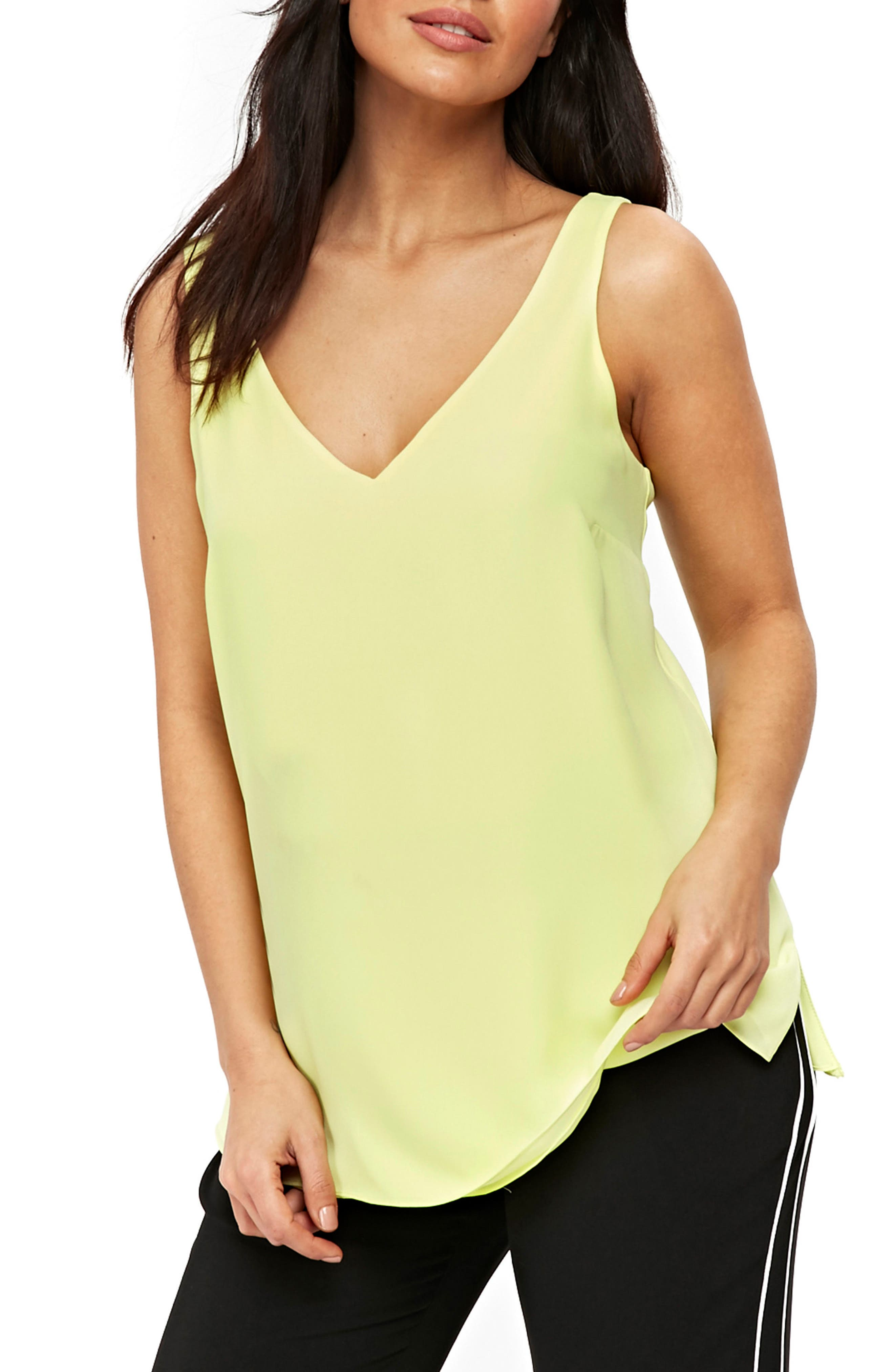 V-neck Camisole Top,                         Main,                         color, Lime