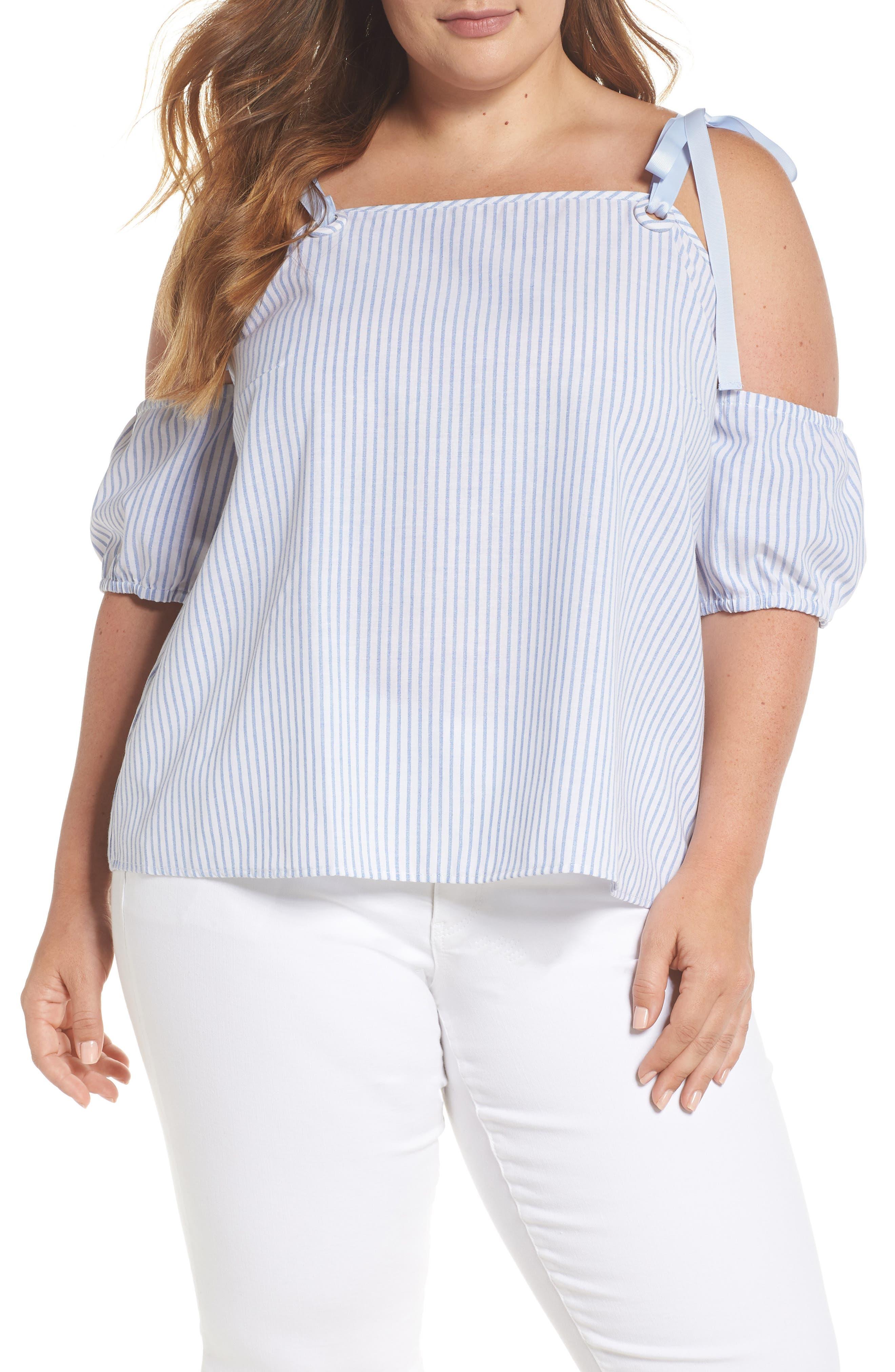 Cold Shoulder Stripe Top,                         Main,                         color, Stripe Print