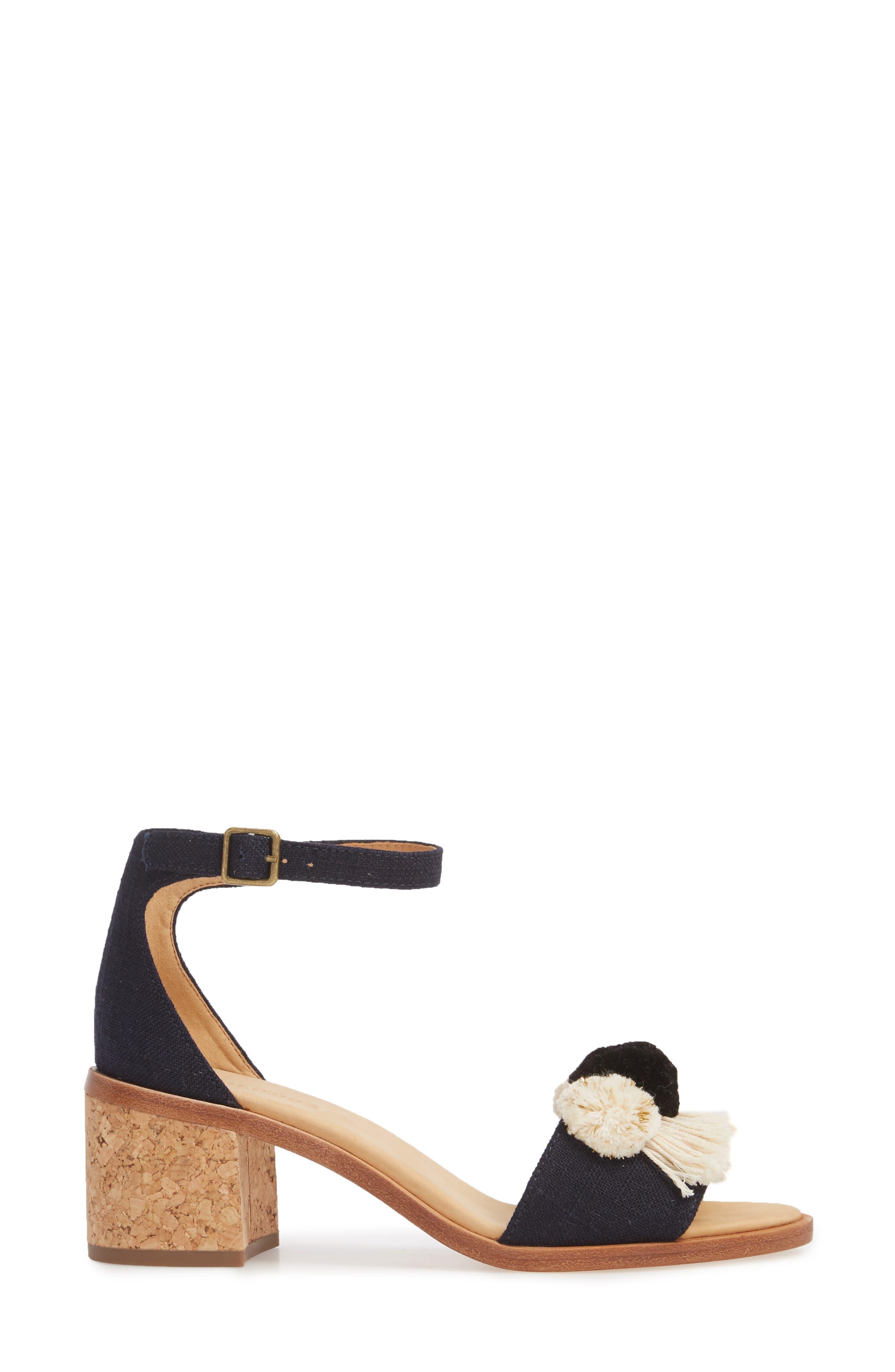 Capri Pom Pom Heel Sandal,                             Alternate thumbnail 3, color,                             Eclipse