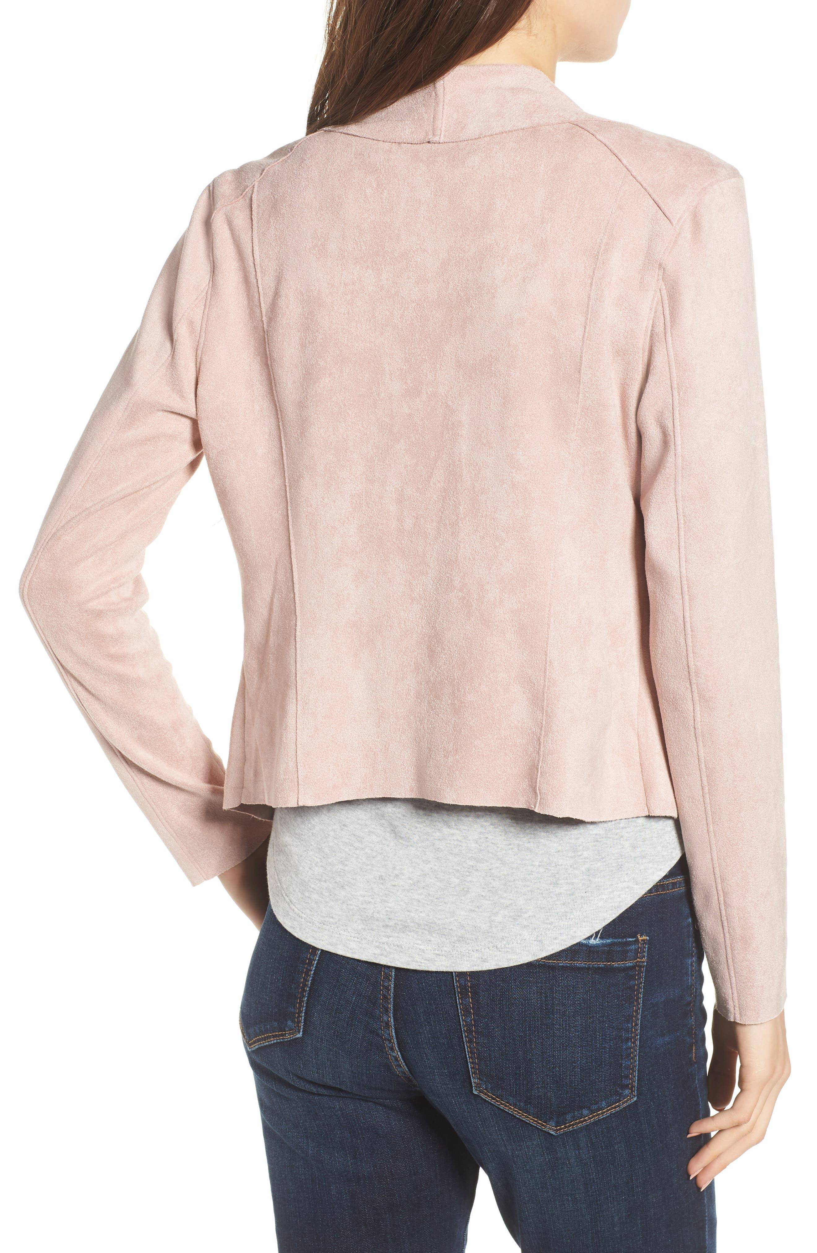 Drape Front Faux Suede Jacket,                             Alternate thumbnail 2, color,                             Pink Adobe