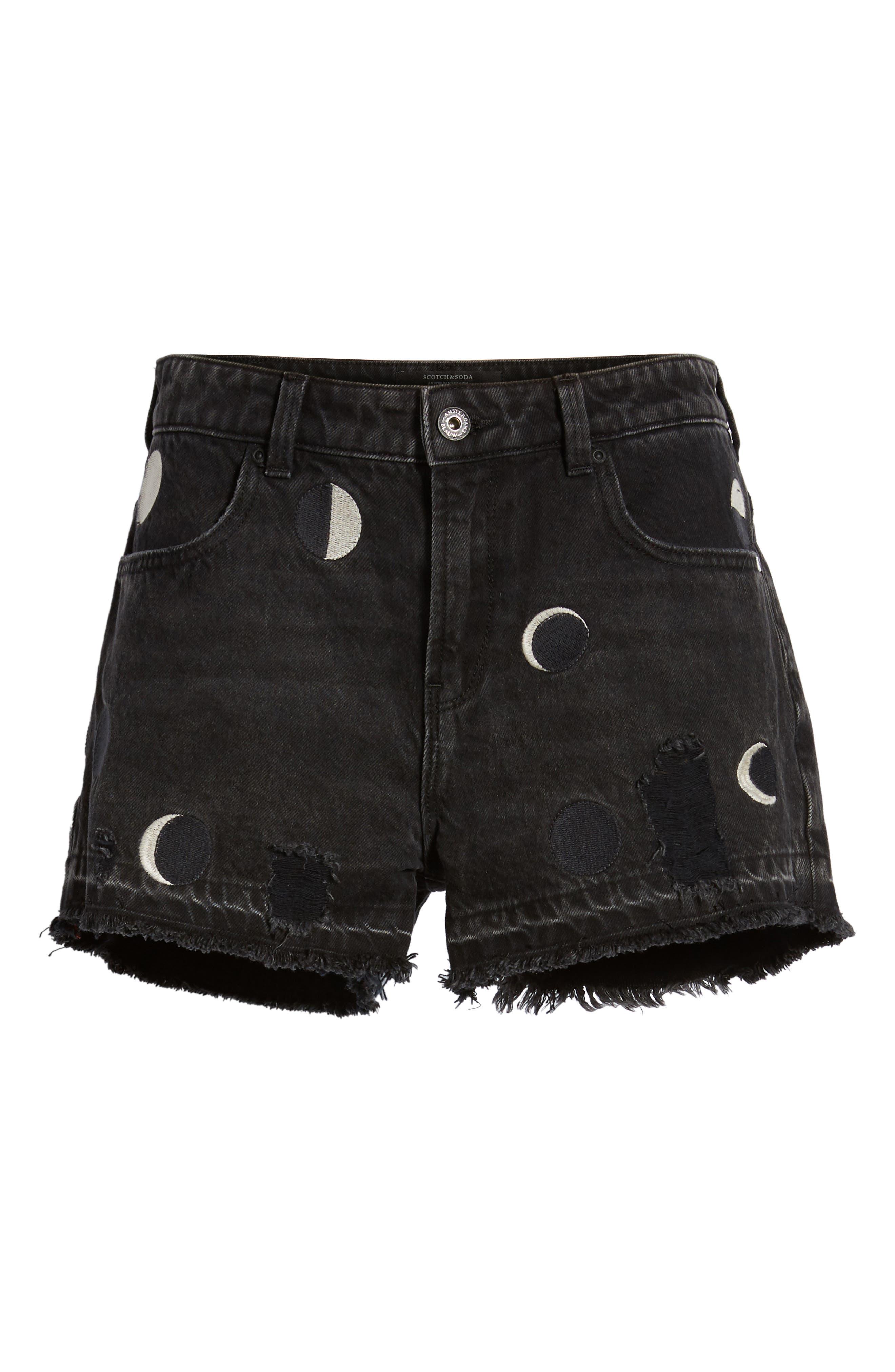 Seasonal Festival Embroidered Denim Shorts,                             Alternate thumbnail 6, color,                             2241 Long Night Moon