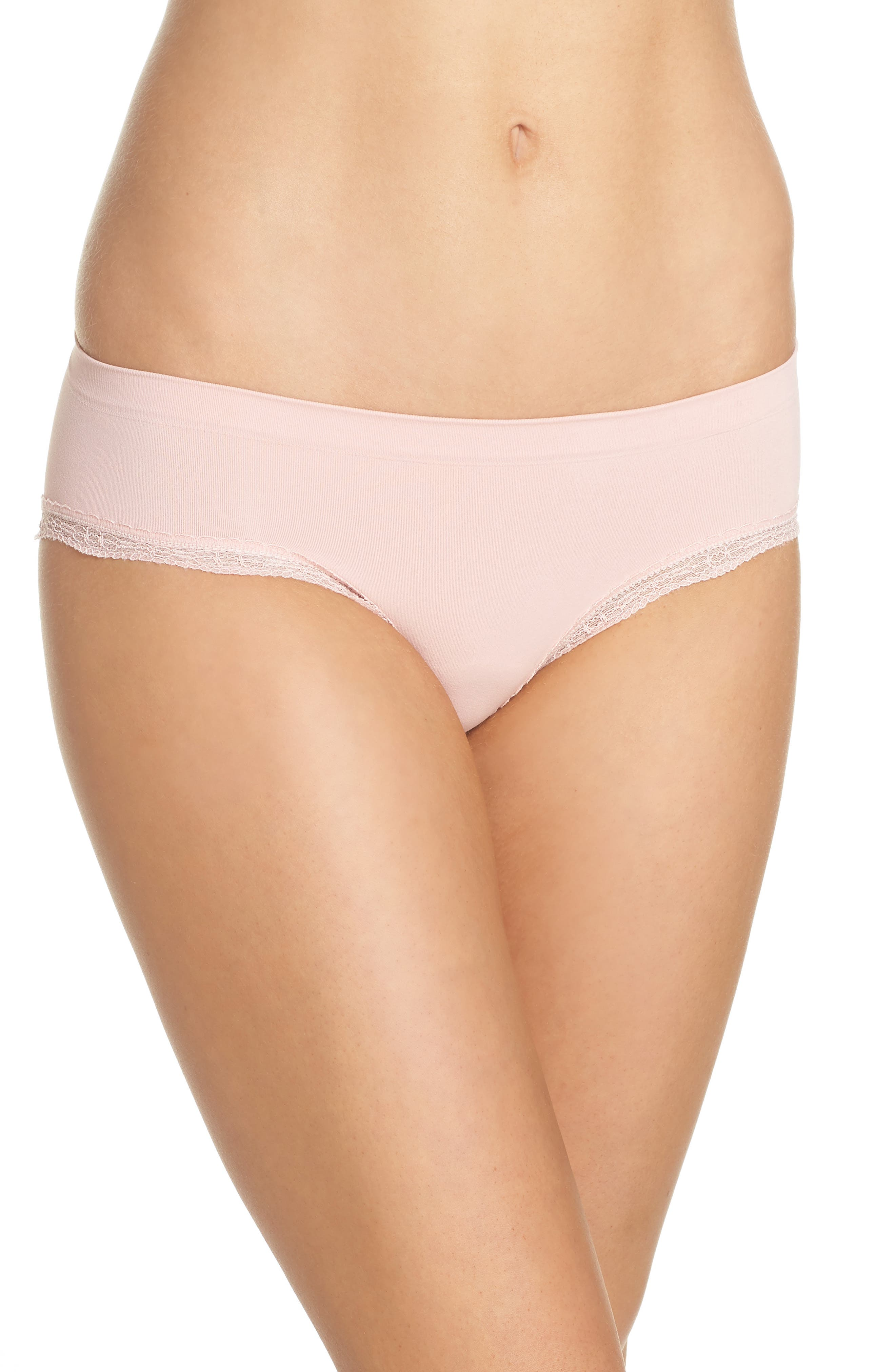 Lace Trim Seamless Hipster Briefs,                         Main,                         color, Pink Silver