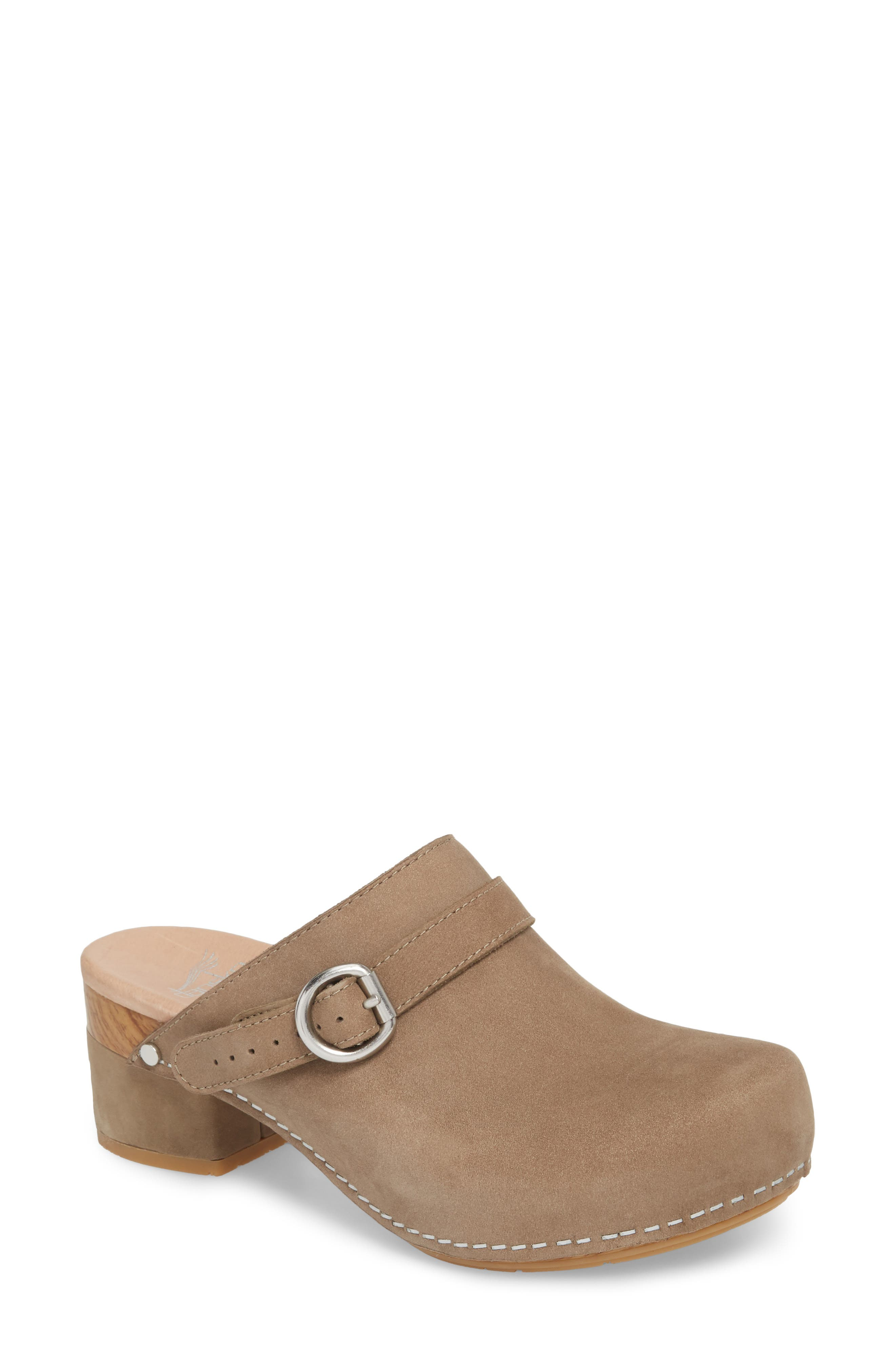 Marty Clog,                             Main thumbnail 1, color,                             Taupe Milled Nubuck Leather