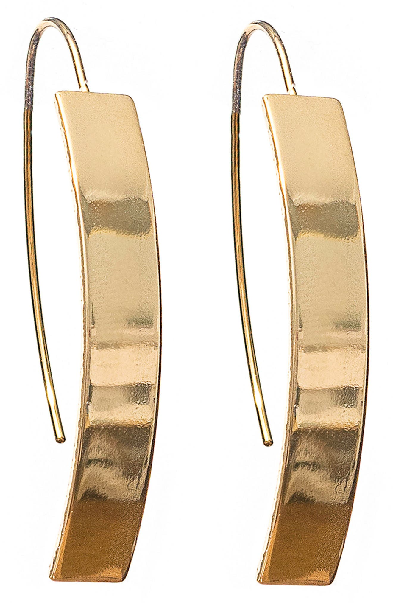 Curved Metal Earrings,                         Main,                         color, Gold