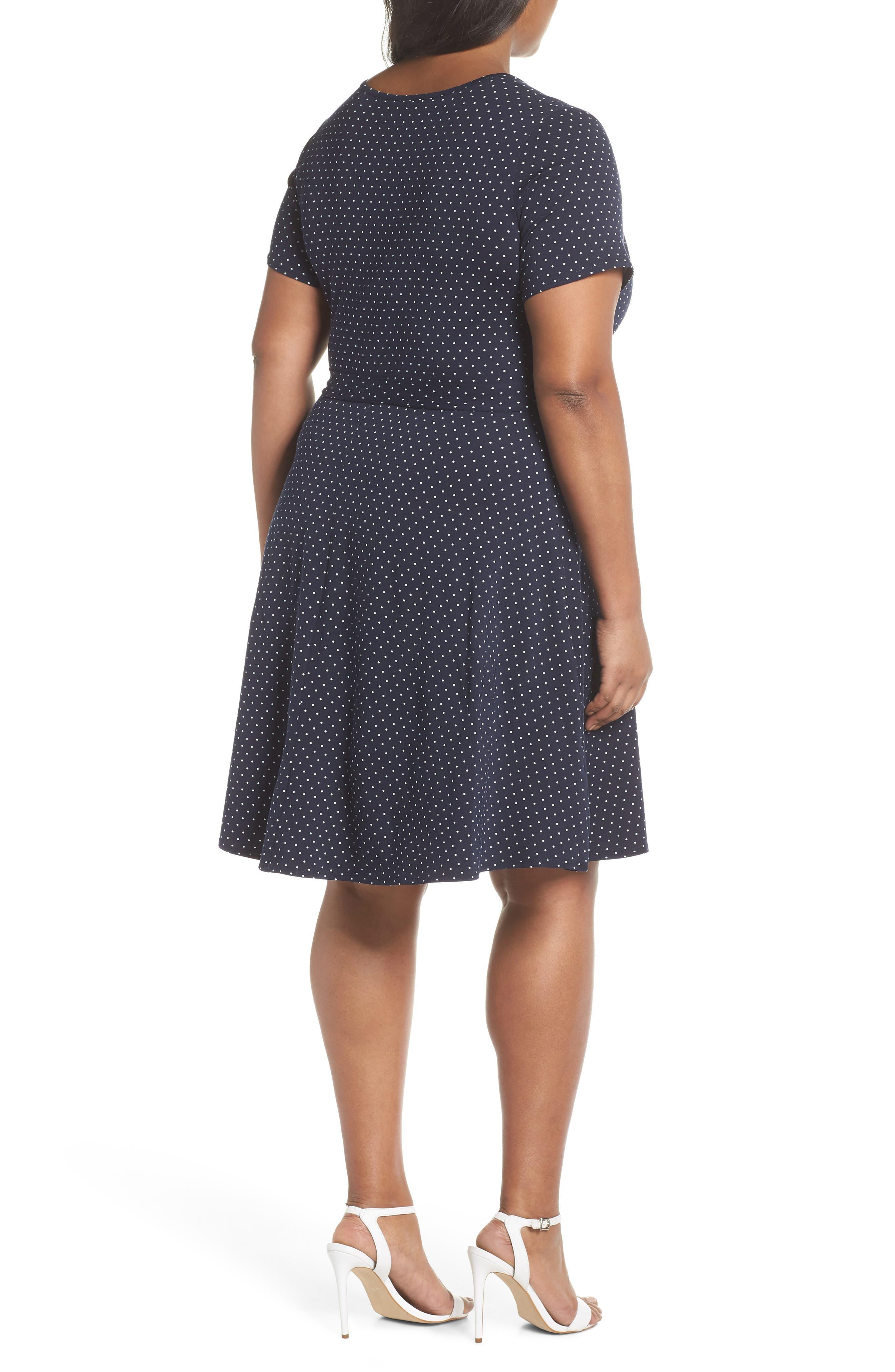 Spot Fit & Flare Wrap Dress,                             Alternate thumbnail 2, color,                             Navy