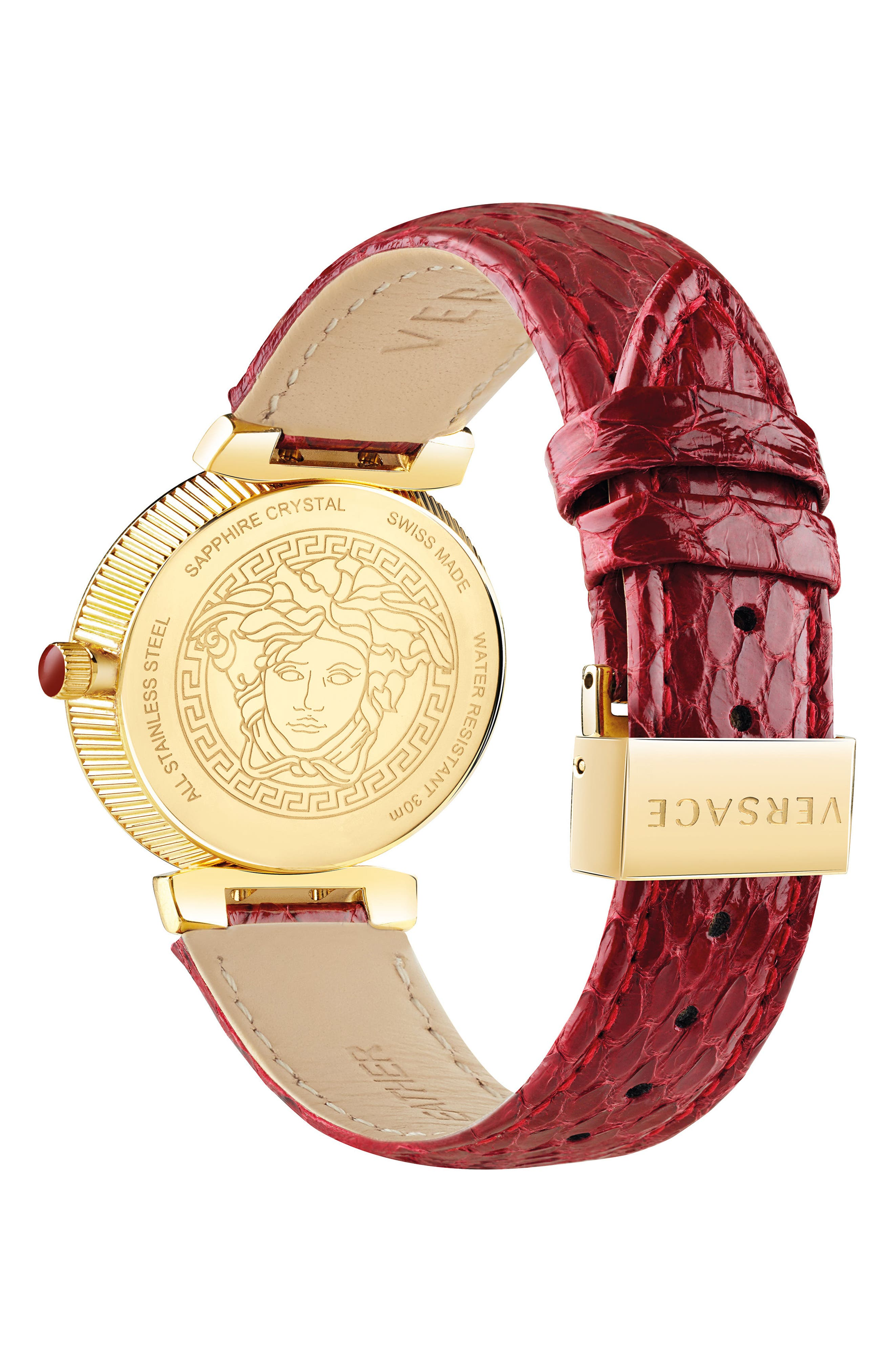 Daphnis Leather Strap Watch, 35mm,                             Alternate thumbnail 2, color,                             Red/ Gold