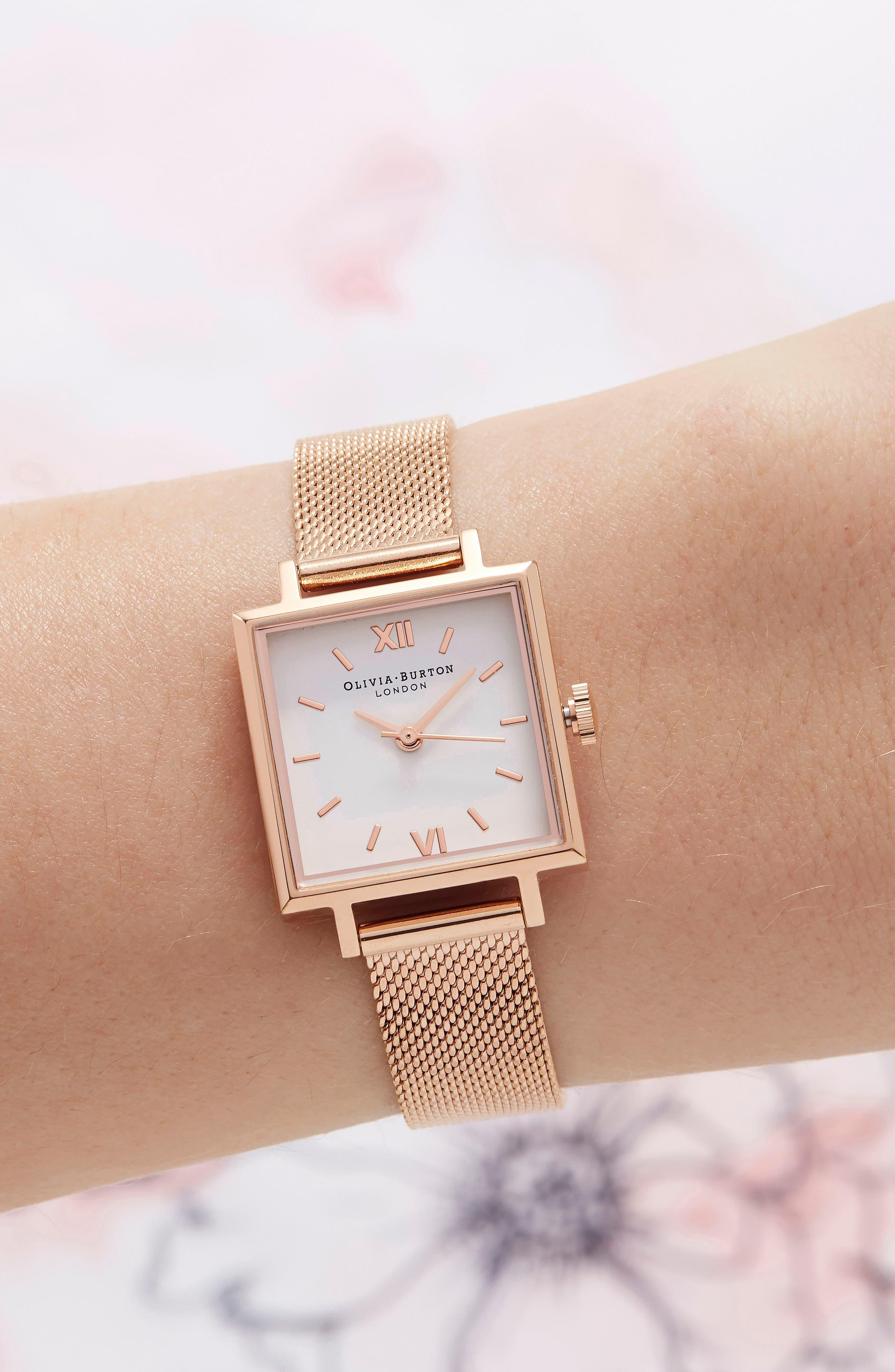 Midi Square Mesh Strap Watch, 22.5mm,                             Alternate thumbnail 4, color,                             Rose Gold/ White/ Rose Gold