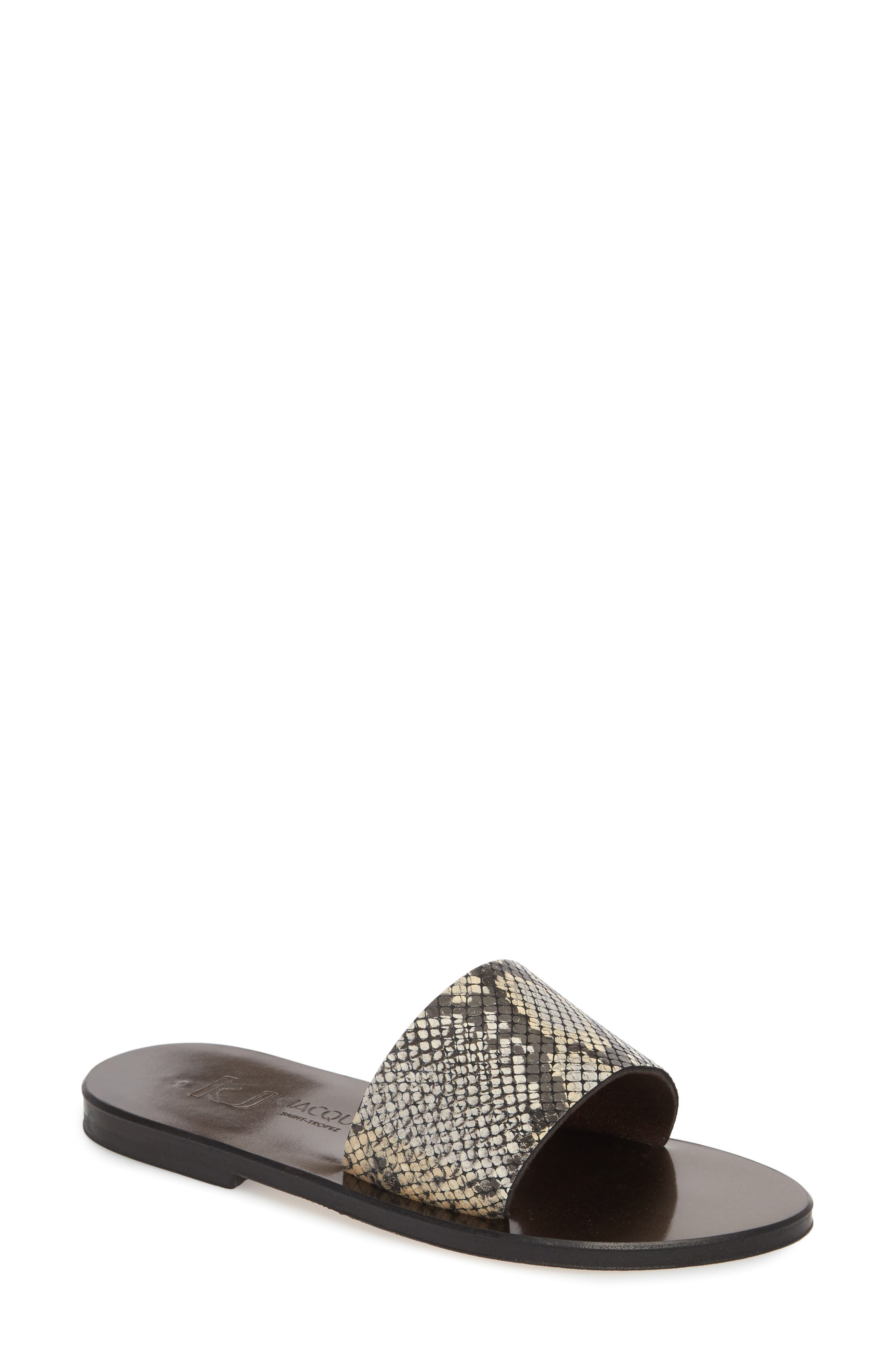 K. Jacques St. Tropez Arezzo Slide Sandal,                             Main thumbnail 1, color,                             Noir Leather