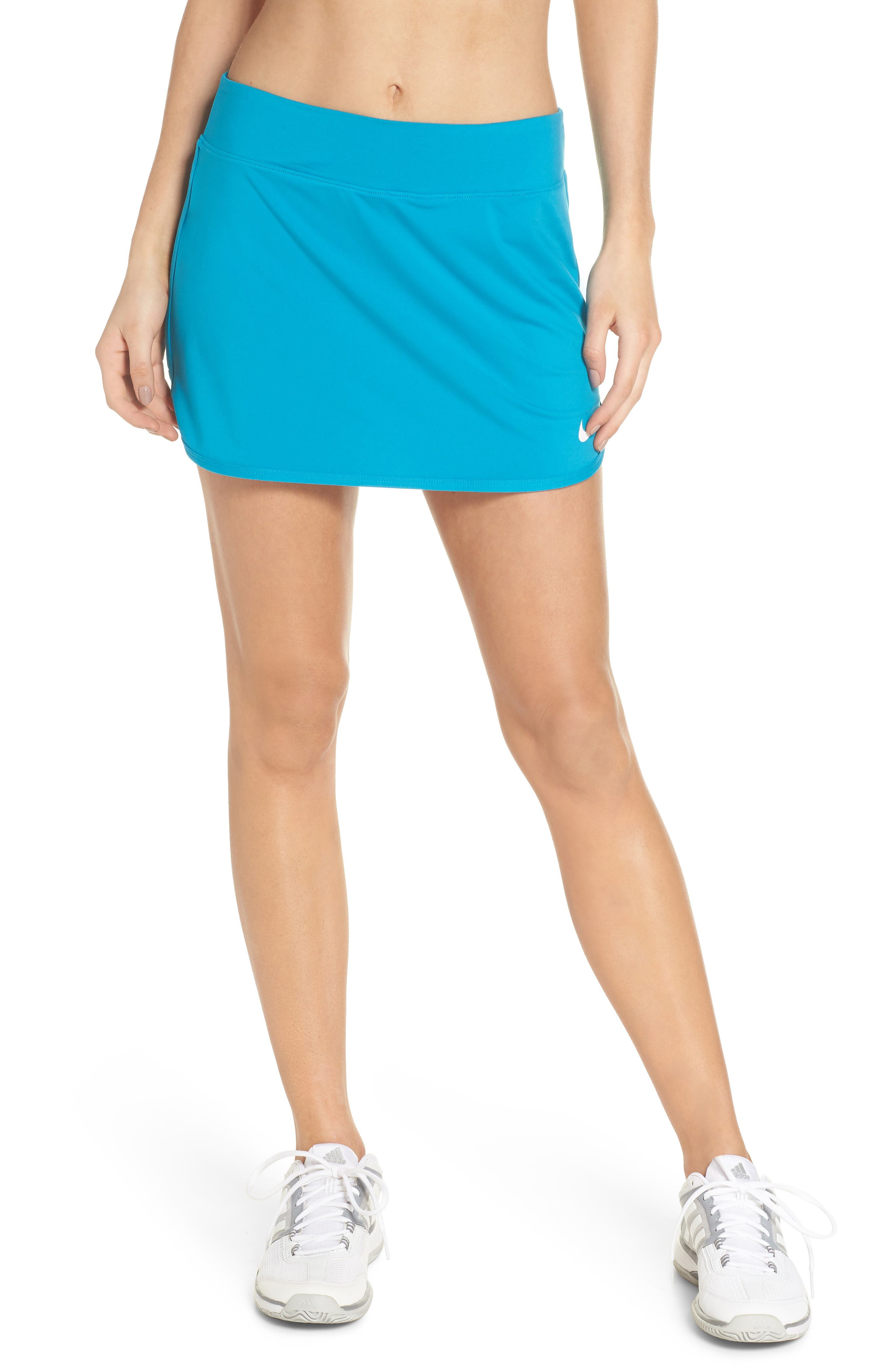 'Pure' Dri-FIT Tennis Skirt,                             Main thumbnail 1, color,                             Neo Turquoise/ White