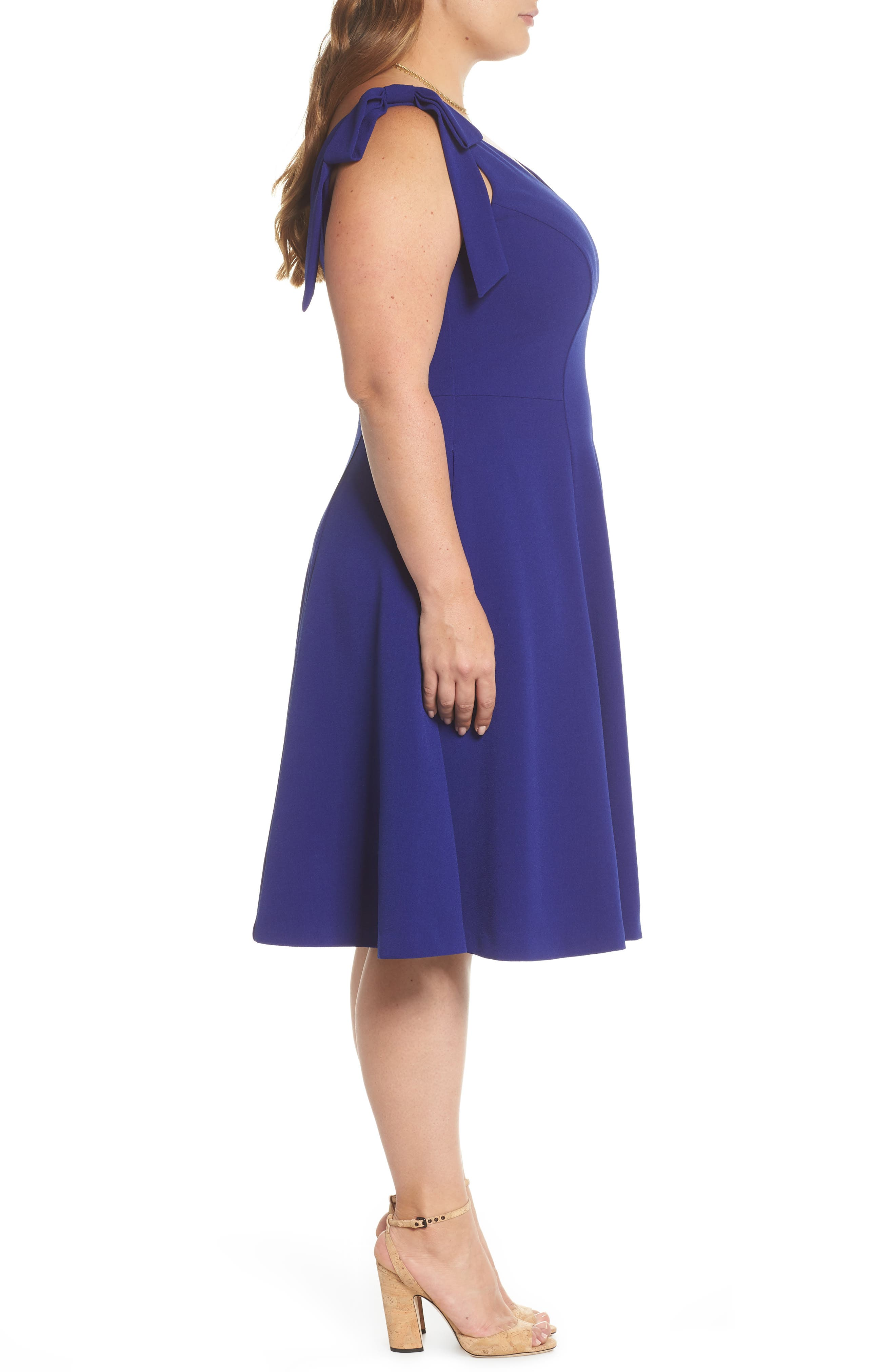 Tie-Shoulder Fit & Flare Dress,                             Alternate thumbnail 3, color,                             Cobalt