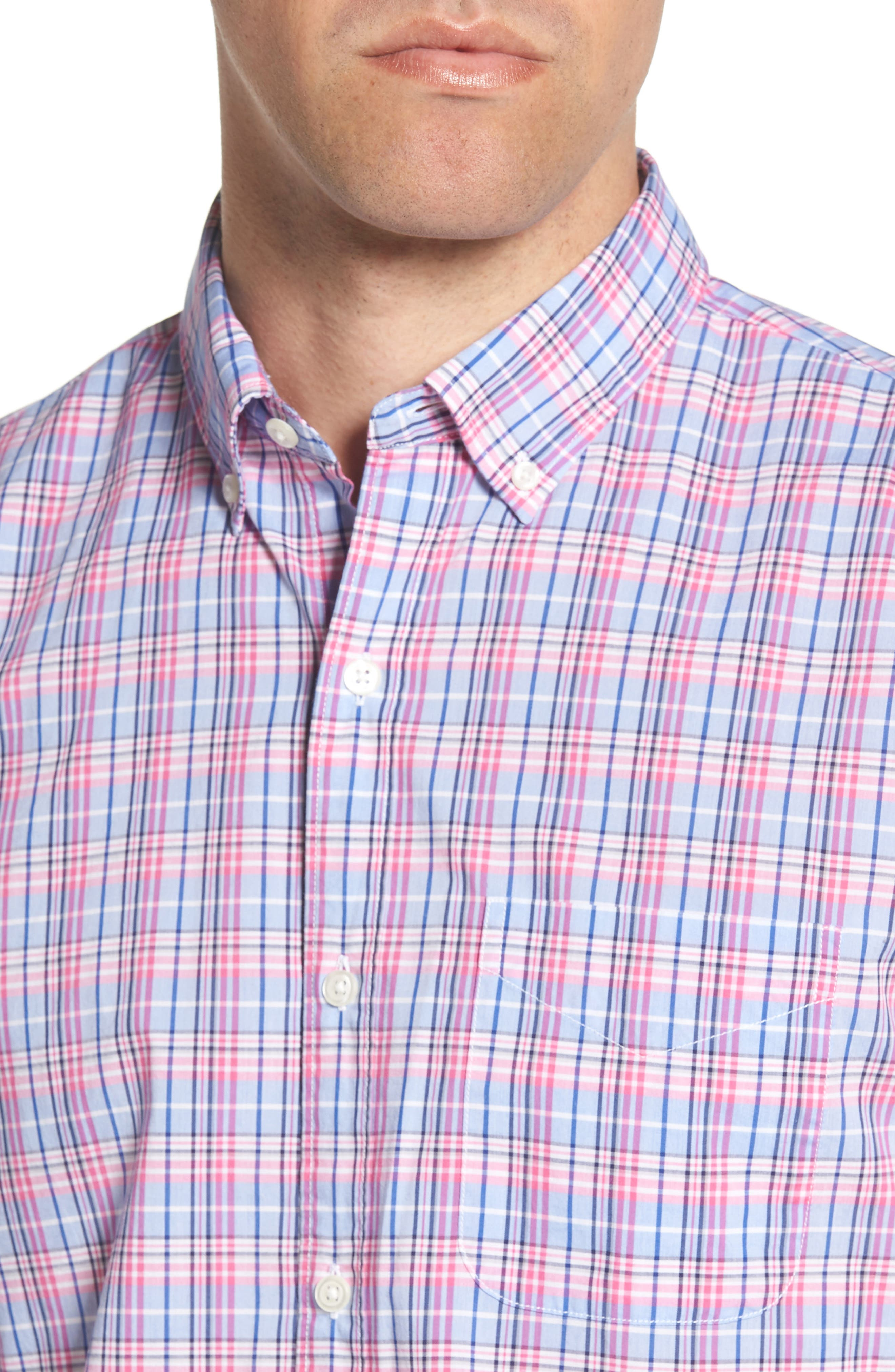 Summerweight Slim Fit Plaid Sport Shirt,                             Alternate thumbnail 2, color,                             Basswood Plaid - Pink Rocket