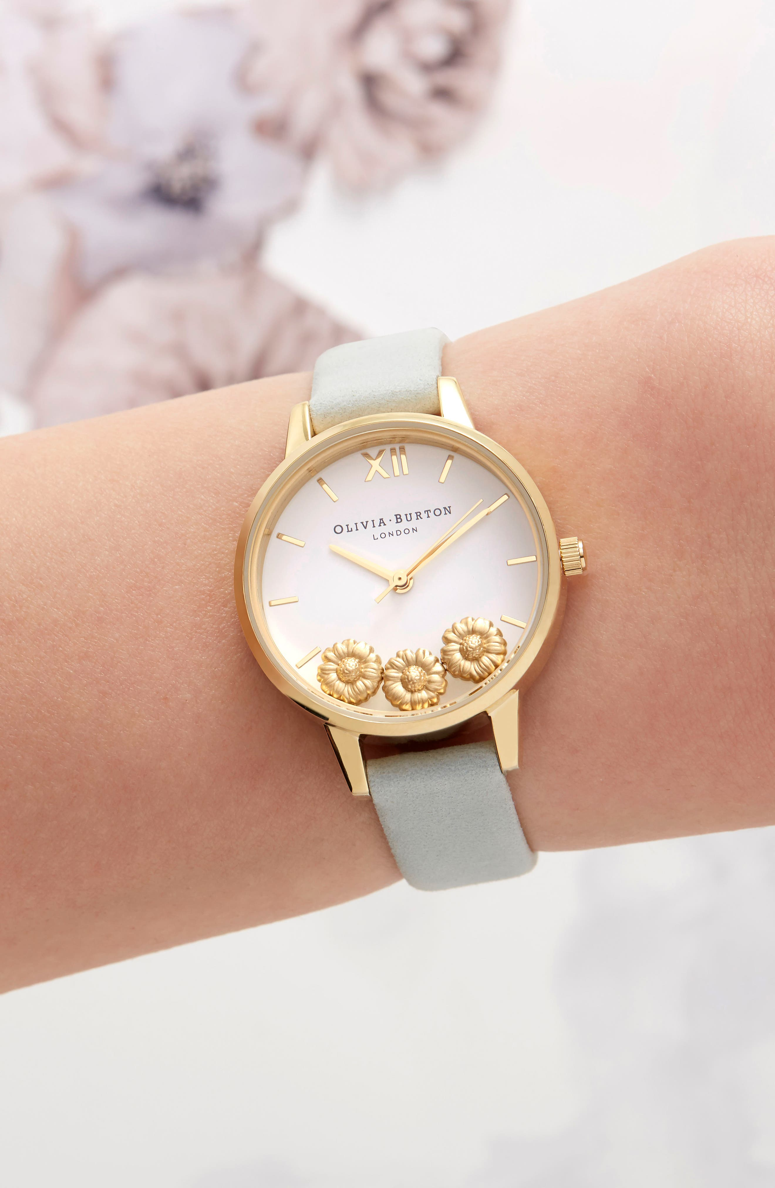 Dancing Daisy Leather Strap Watch, 30mm,                             Alternate thumbnail 4, color,                             Sage/ White/ Gold