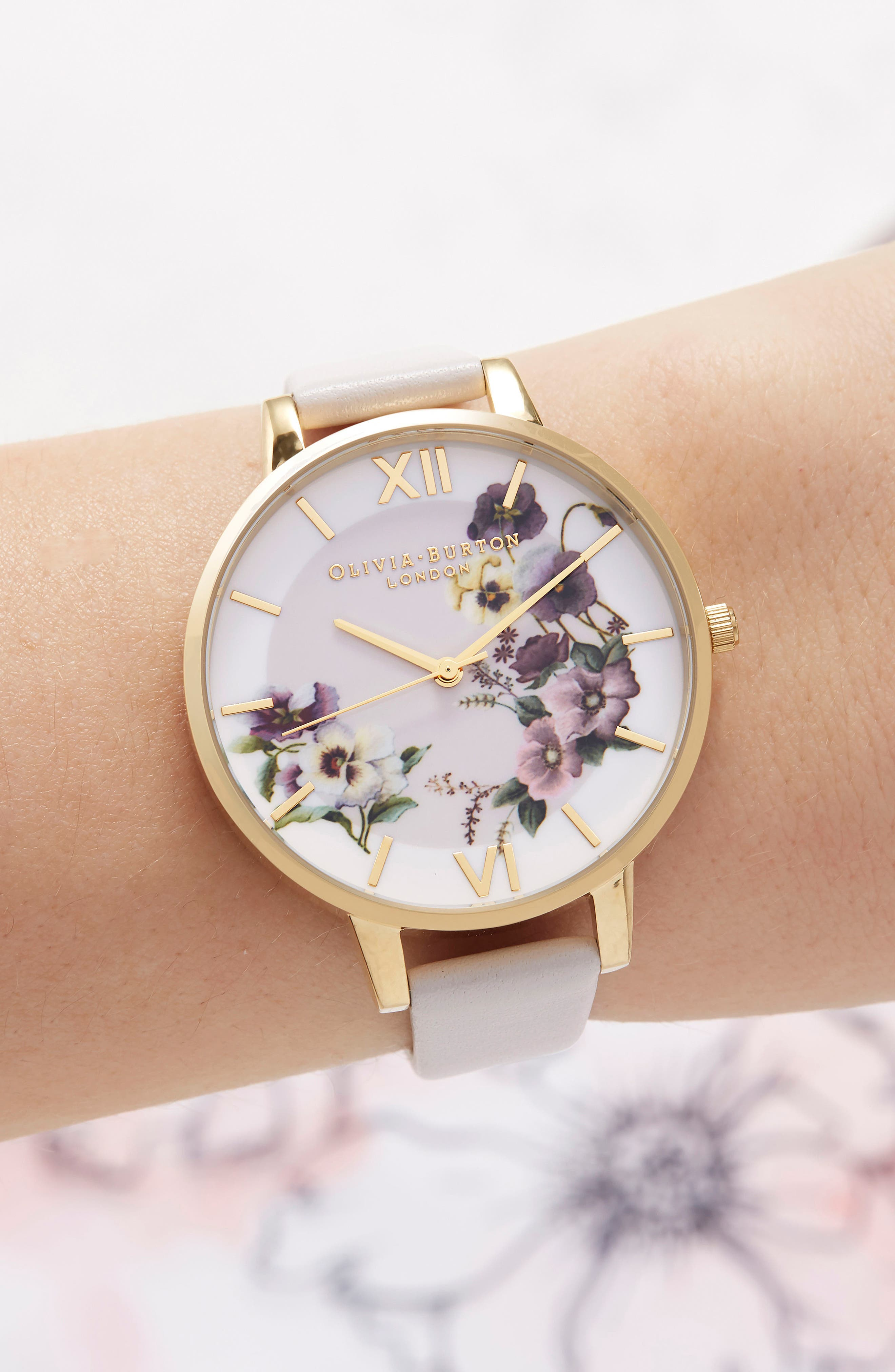 Begin to Blush Leather Strap Watch, 38mm,                             Alternate thumbnail 2, color,                             Blush/ Floral/ Gold
