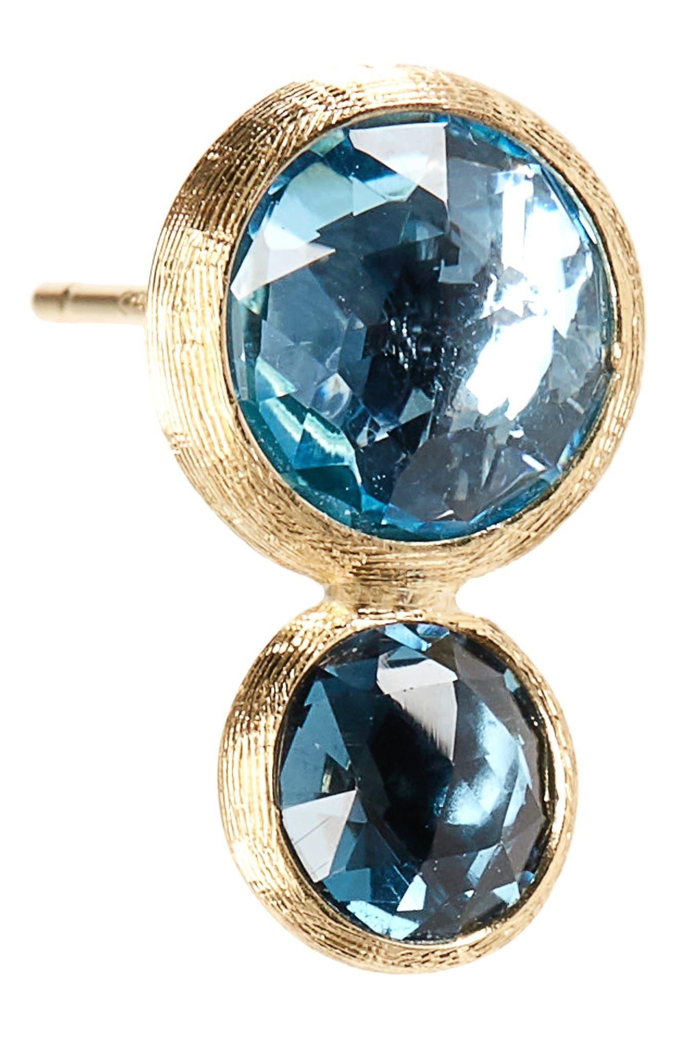 Jaipur 2-Stone Blue Topaz Stud Earrings,                             Alternate thumbnail 5, color,                             Yellow Gold London/ Swiss Blue