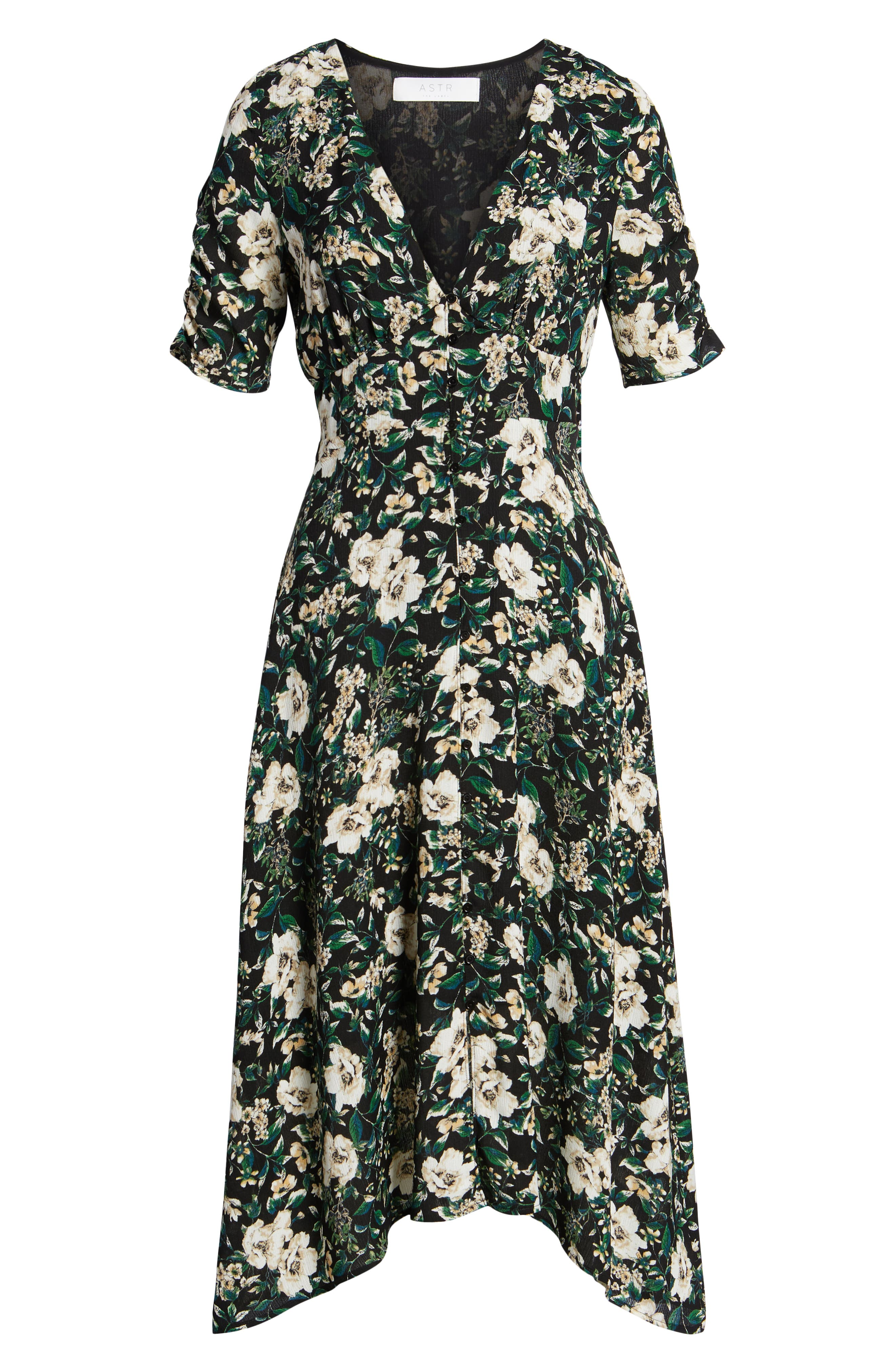 Button Front Midi Dress,                             Alternate thumbnail 6, color,                             Green Ivory Floral