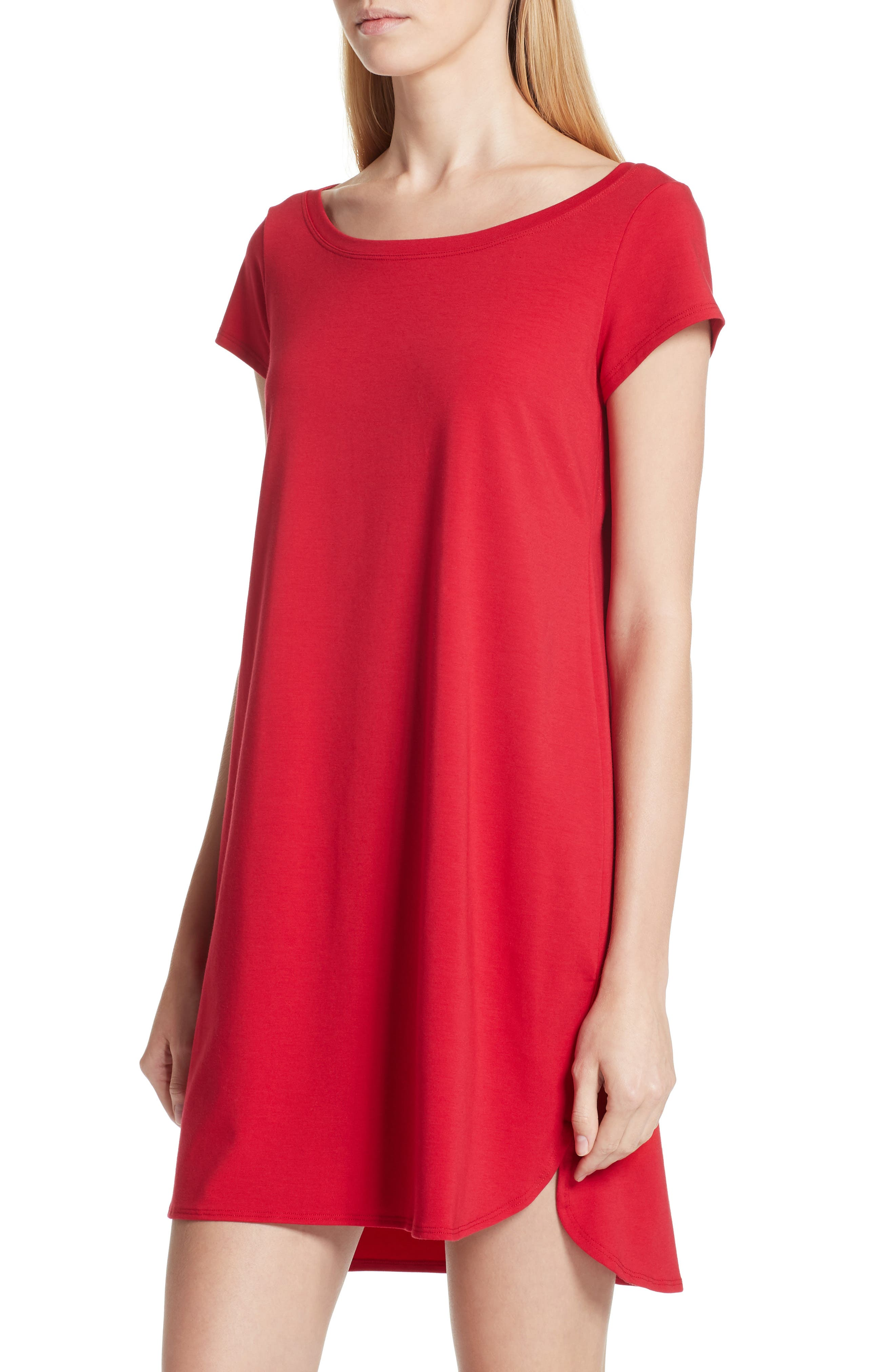 Stretch Cotton Shift Dress,                             Alternate thumbnail 4, color,                             Ruby