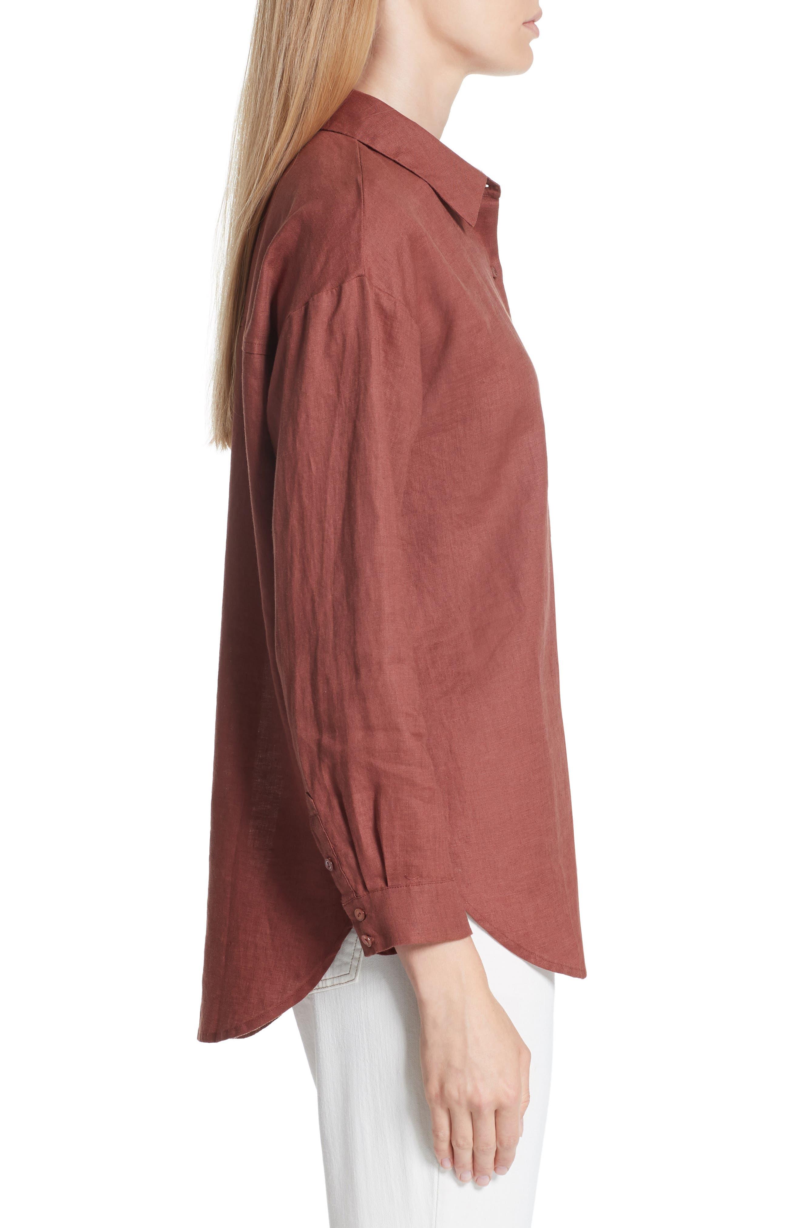 Classic Collar Linen Shirt,                             Alternate thumbnail 3, color,                             Russet