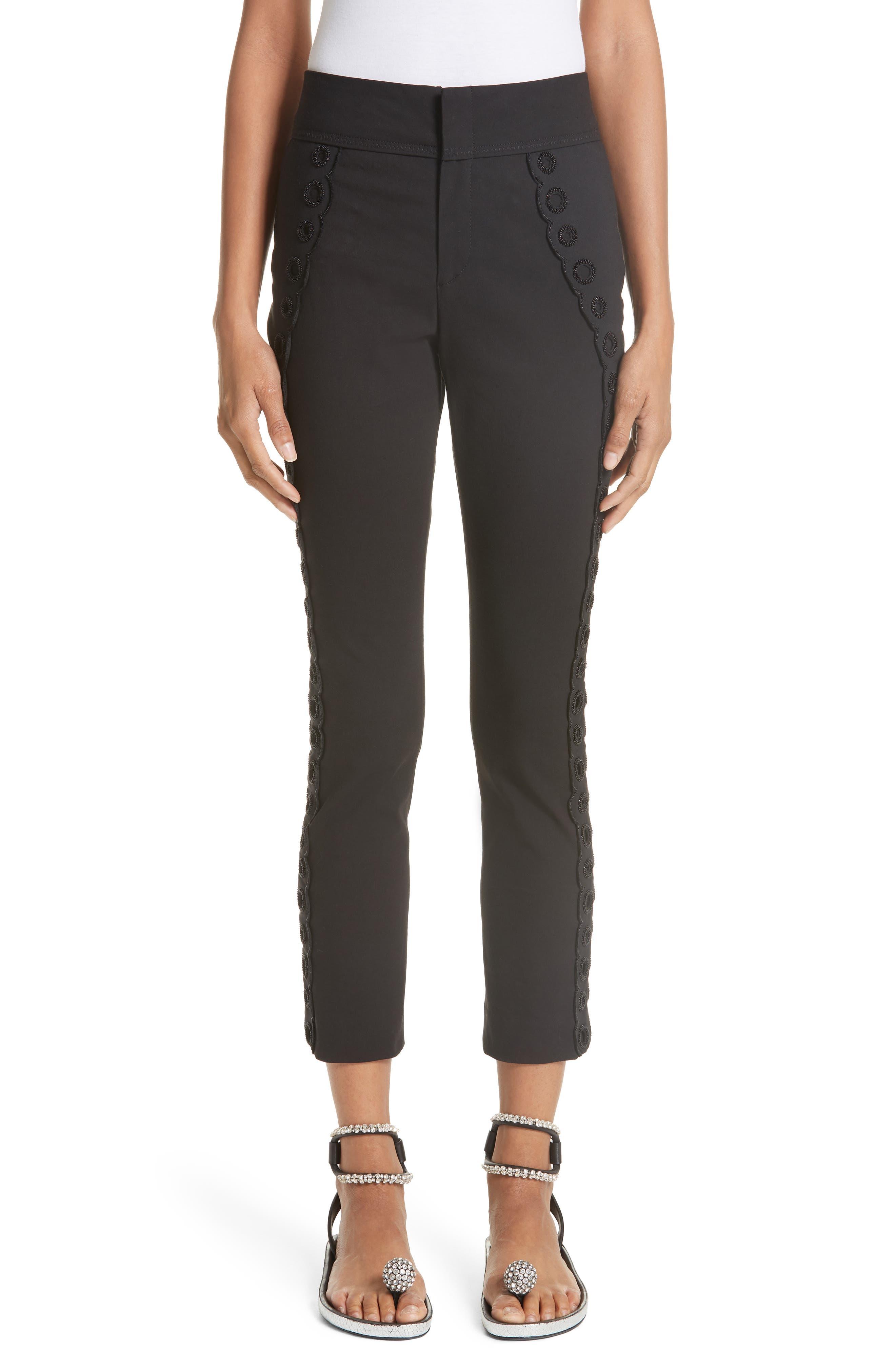 Isabel Marant Beaded Grommet Crop Trousers
