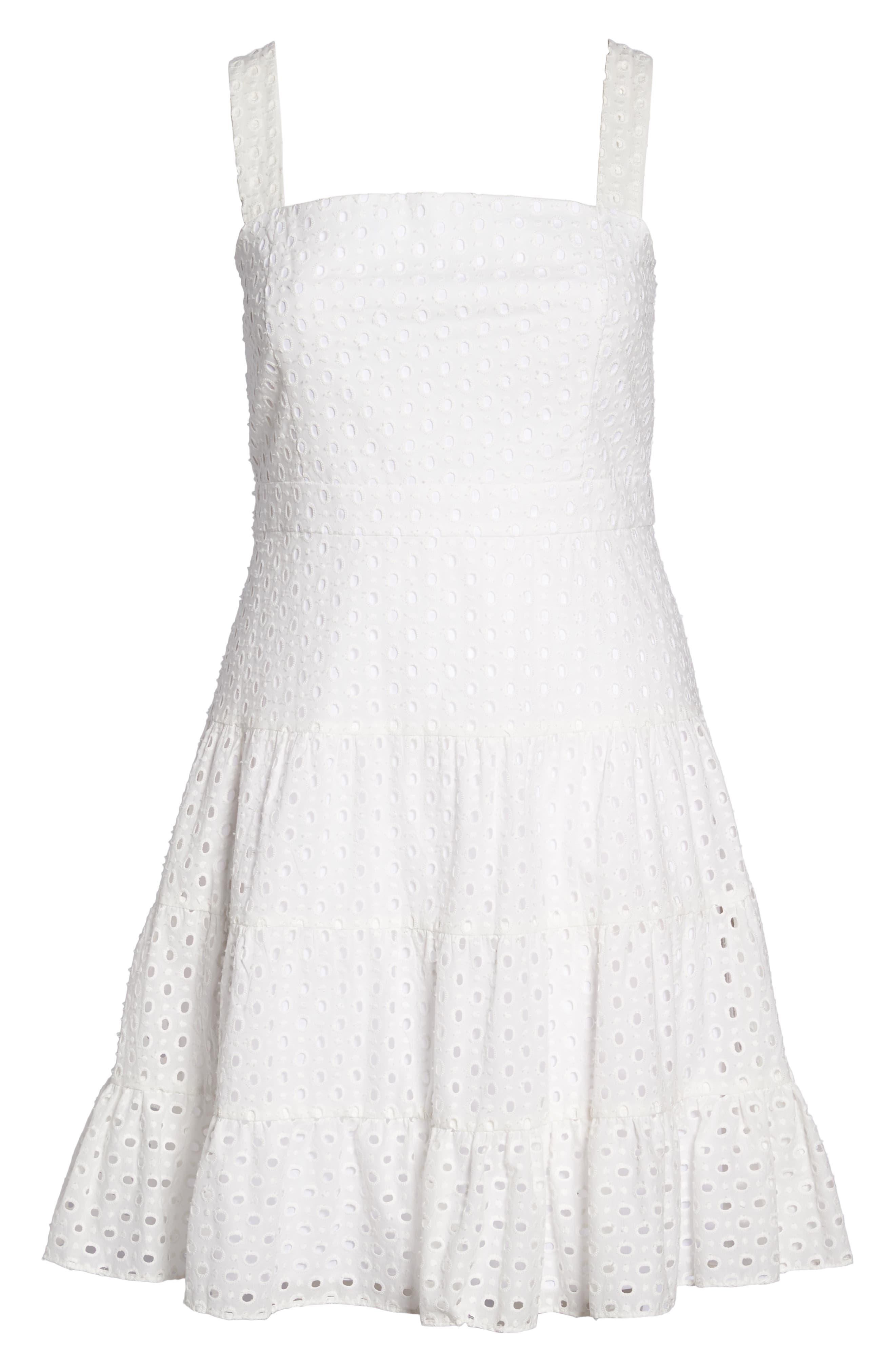 Eyelet Fit & Flare Dress,                             Alternate thumbnail 7, color,                             White