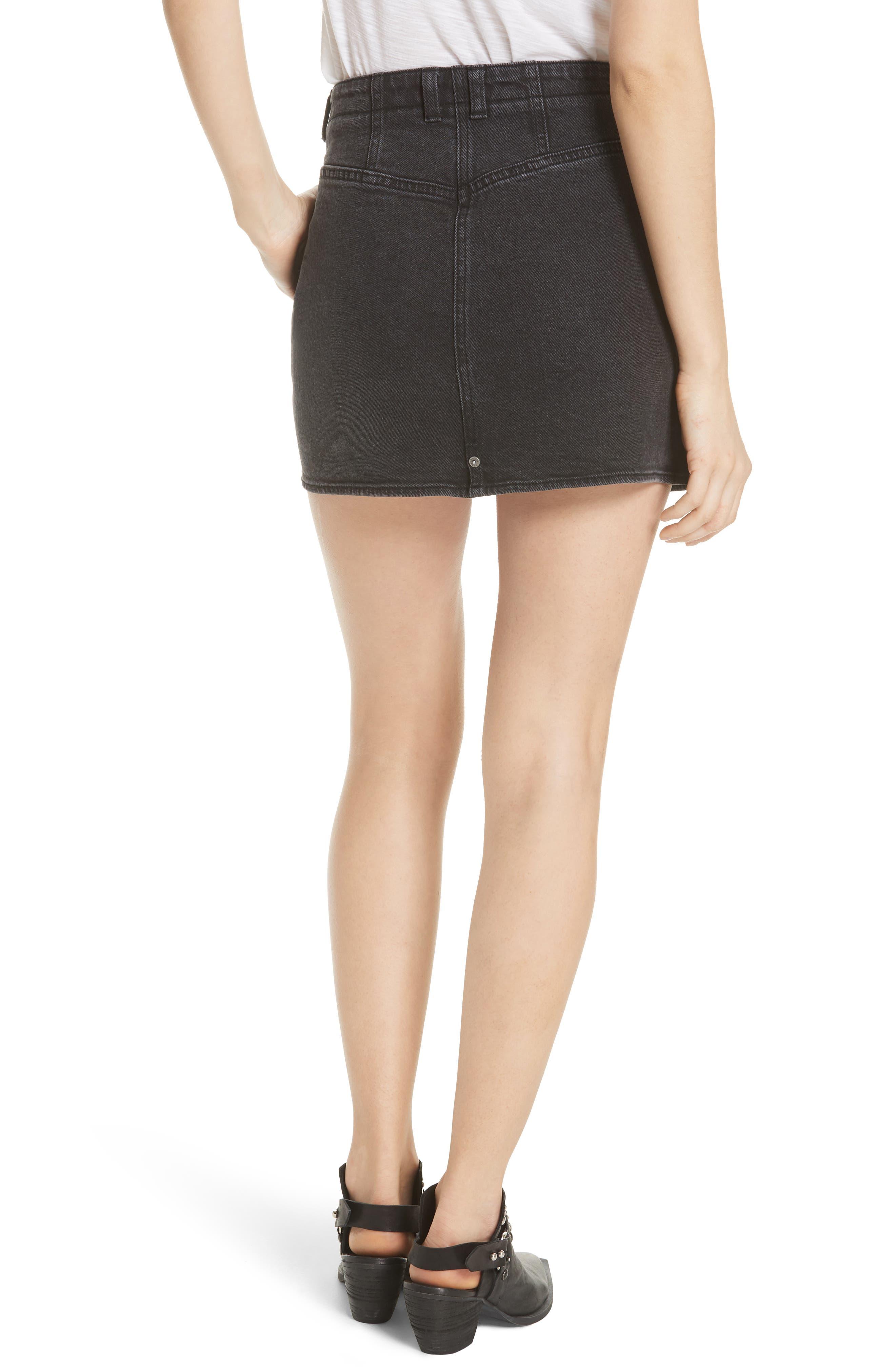 She's All That Denim Miniskirt,                             Alternate thumbnail 2, color,                             Black