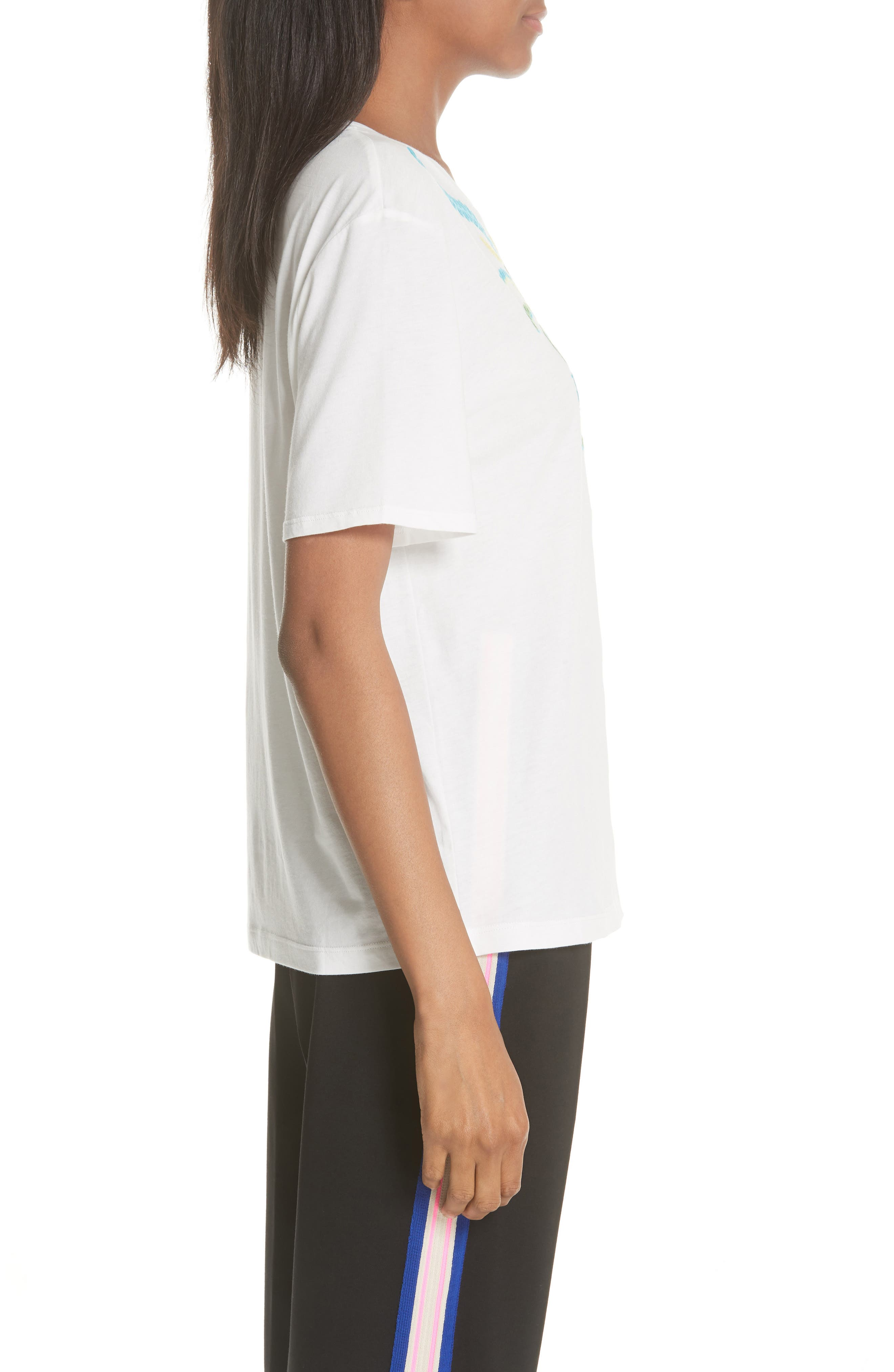 Embroidery Cotton Blend Tee,                             Alternate thumbnail 3, color,                             Blanc