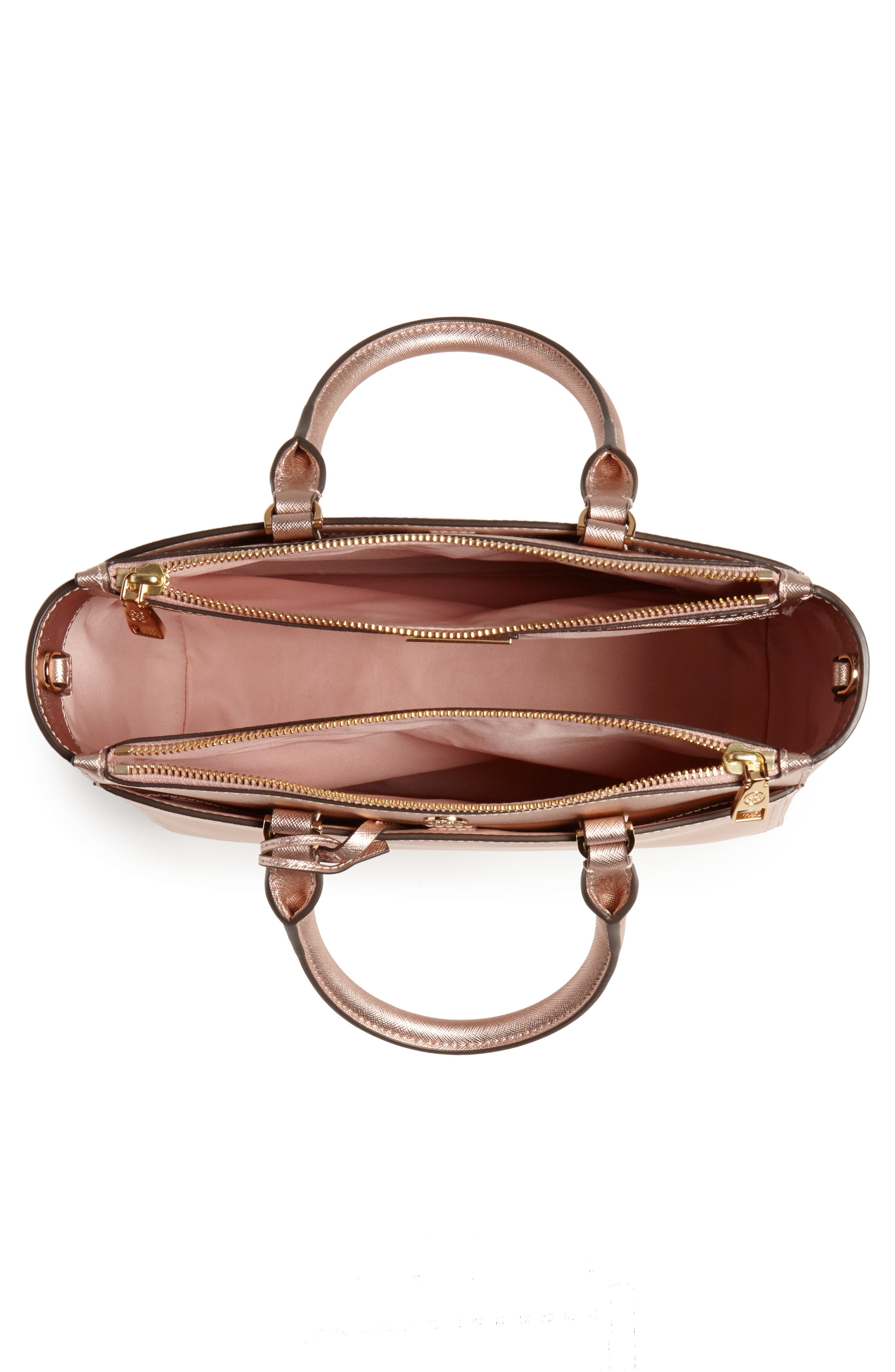 Small Robinson Double-Zip Metallic Leather Tote,                             Alternate thumbnail 4, color,                             Light Rose Gold