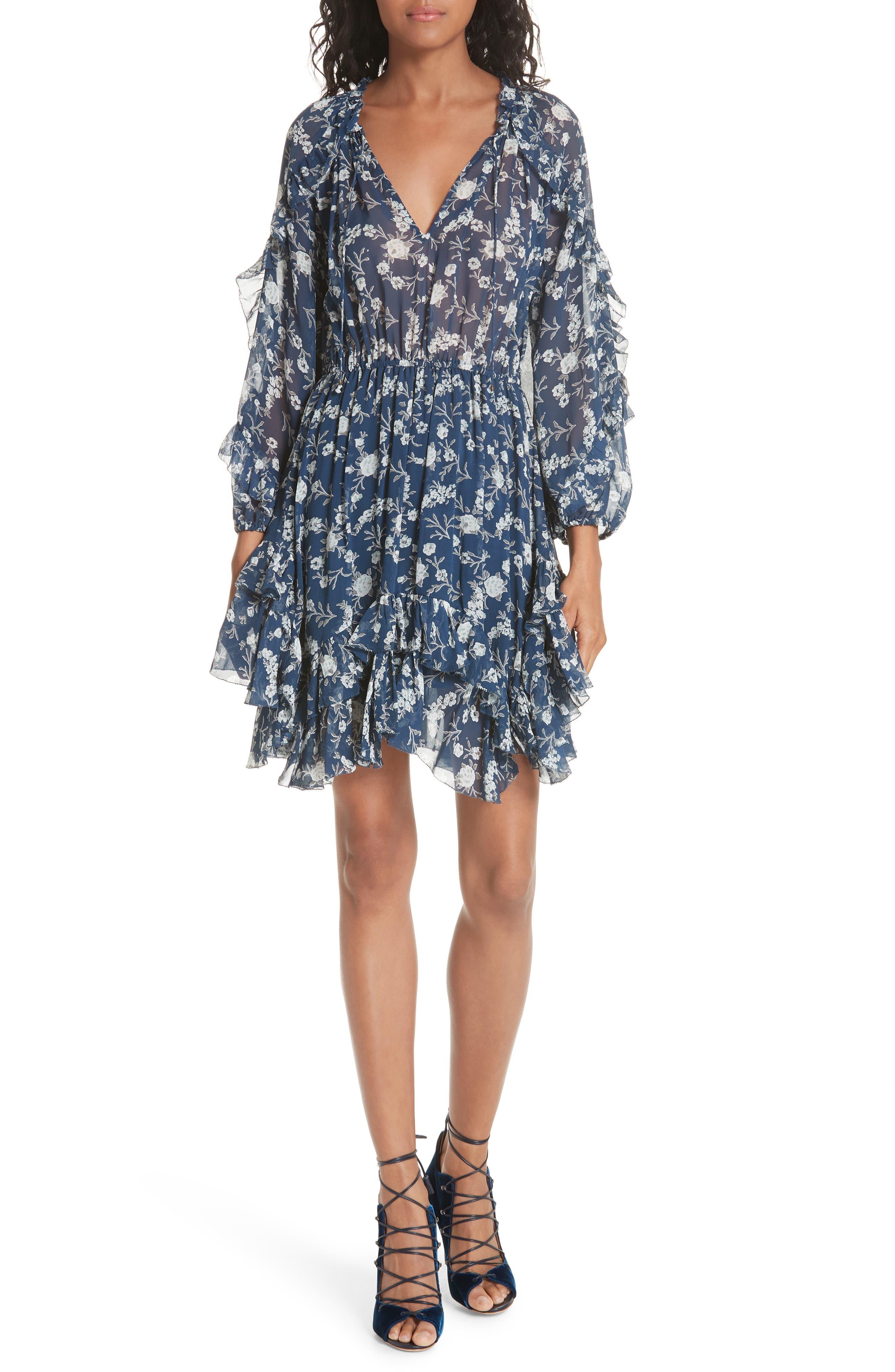 Alissa Silk Dress,                         Main,                         color, Azure