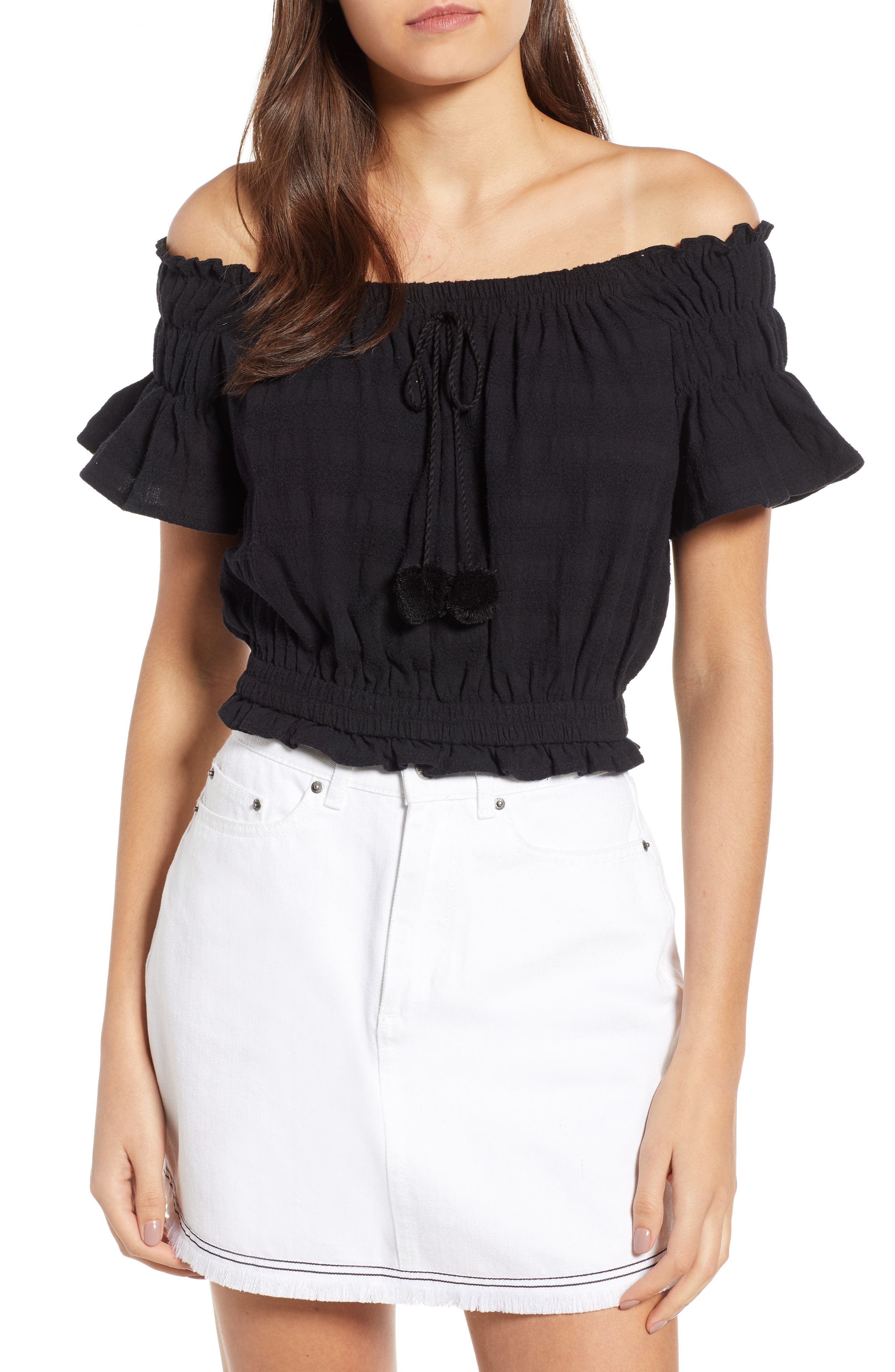 Pompom Off the Shoulder Top,                         Main,                         color, Black
