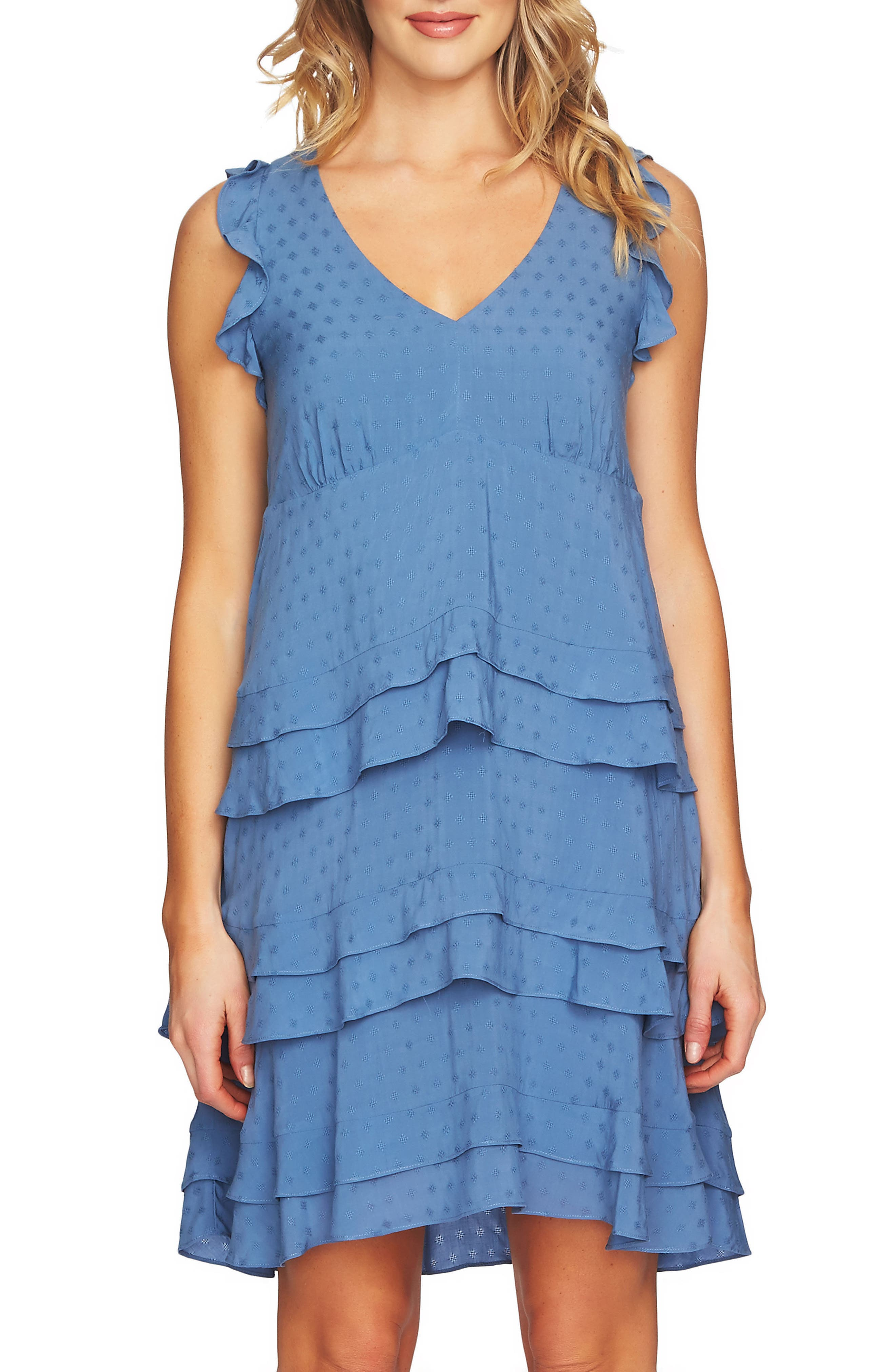 Sleeveless Tiered Ruffle Dress,                         Main,                         color, Vista Blue