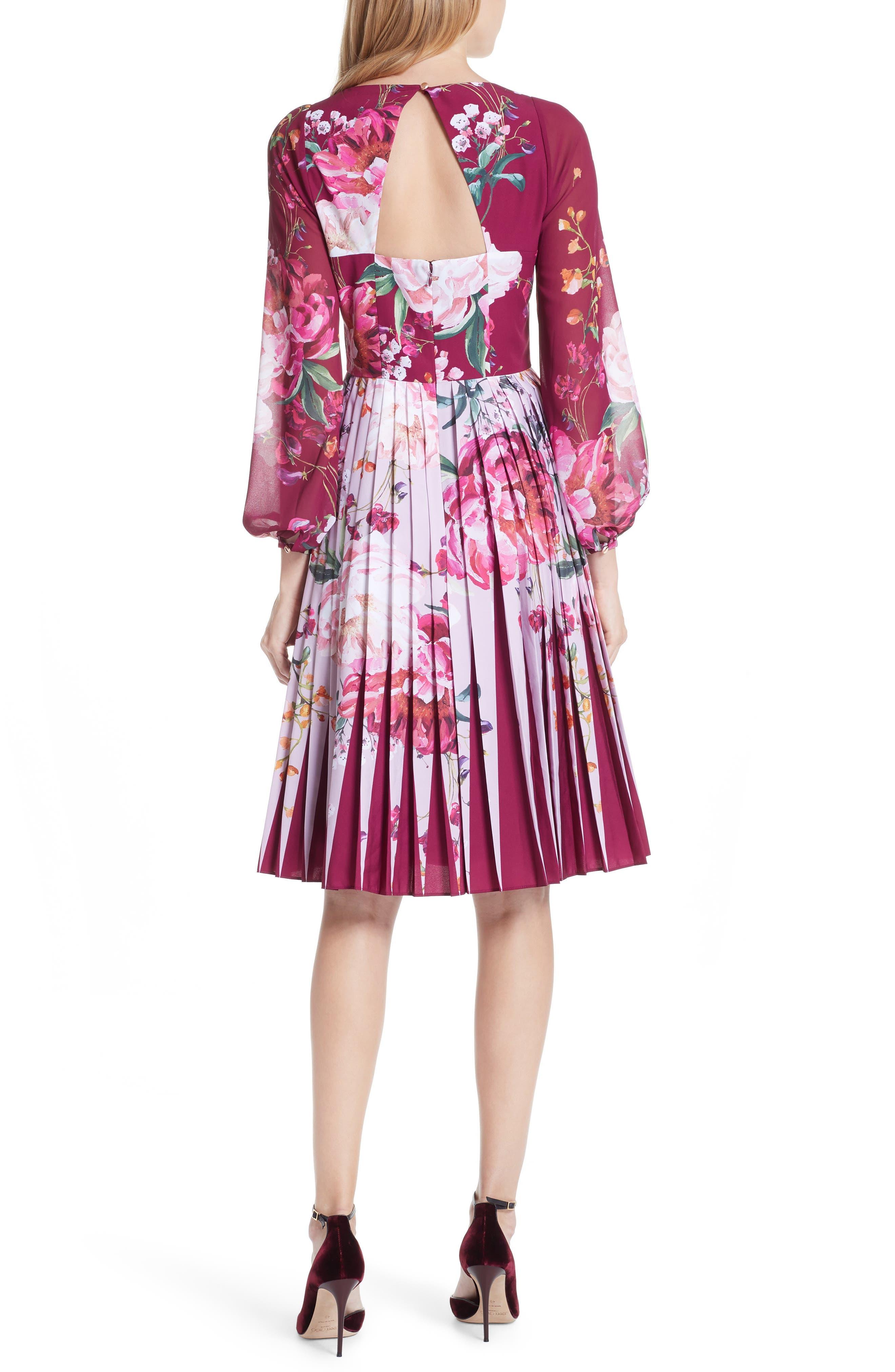 Esperan Serenity Contrast Pleated Skirt Dress,                             Alternate thumbnail 2, color,                             Maroon