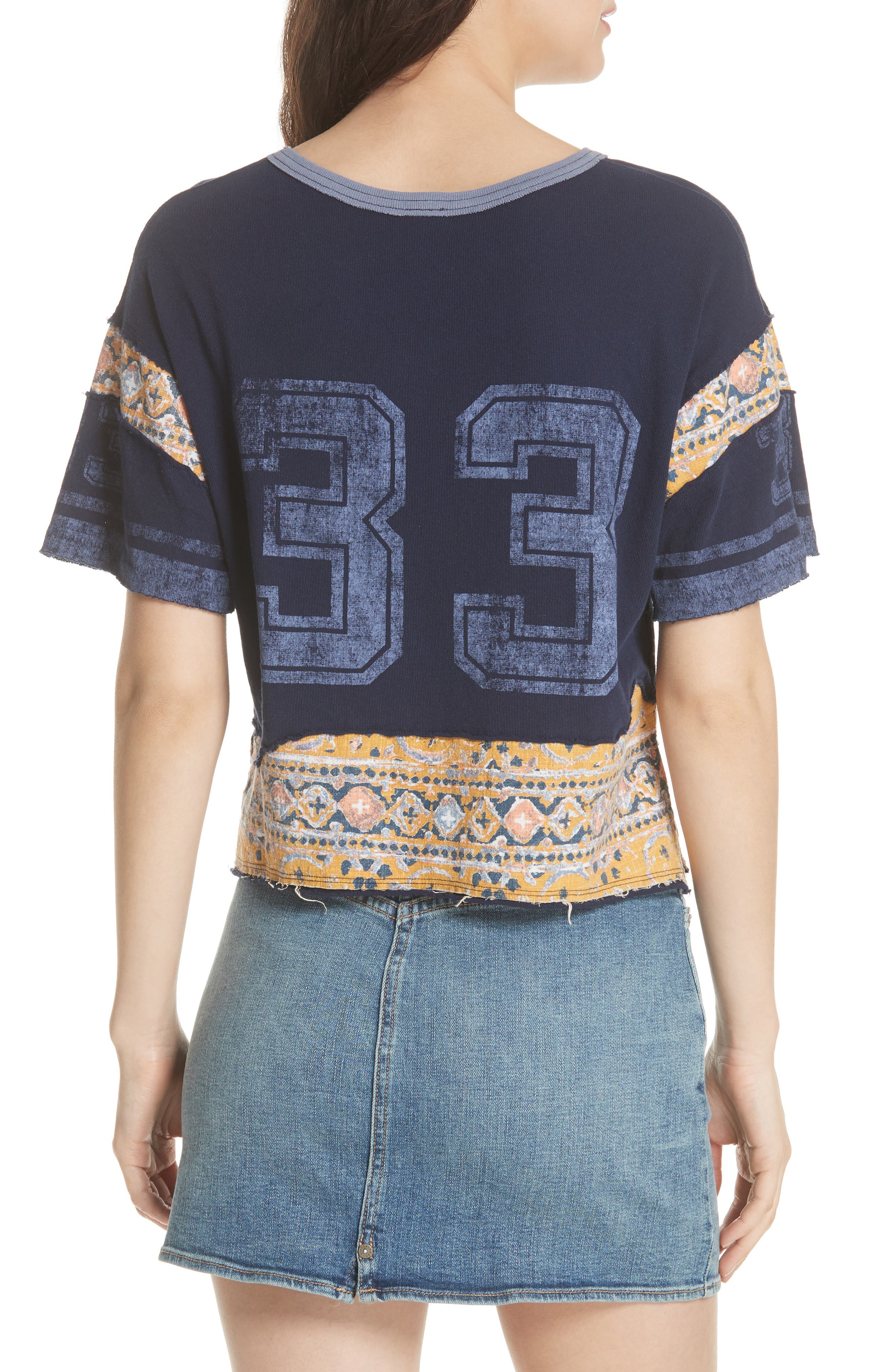 Nicky Crop Tee,                             Alternate thumbnail 2, color,                             Blue Combo