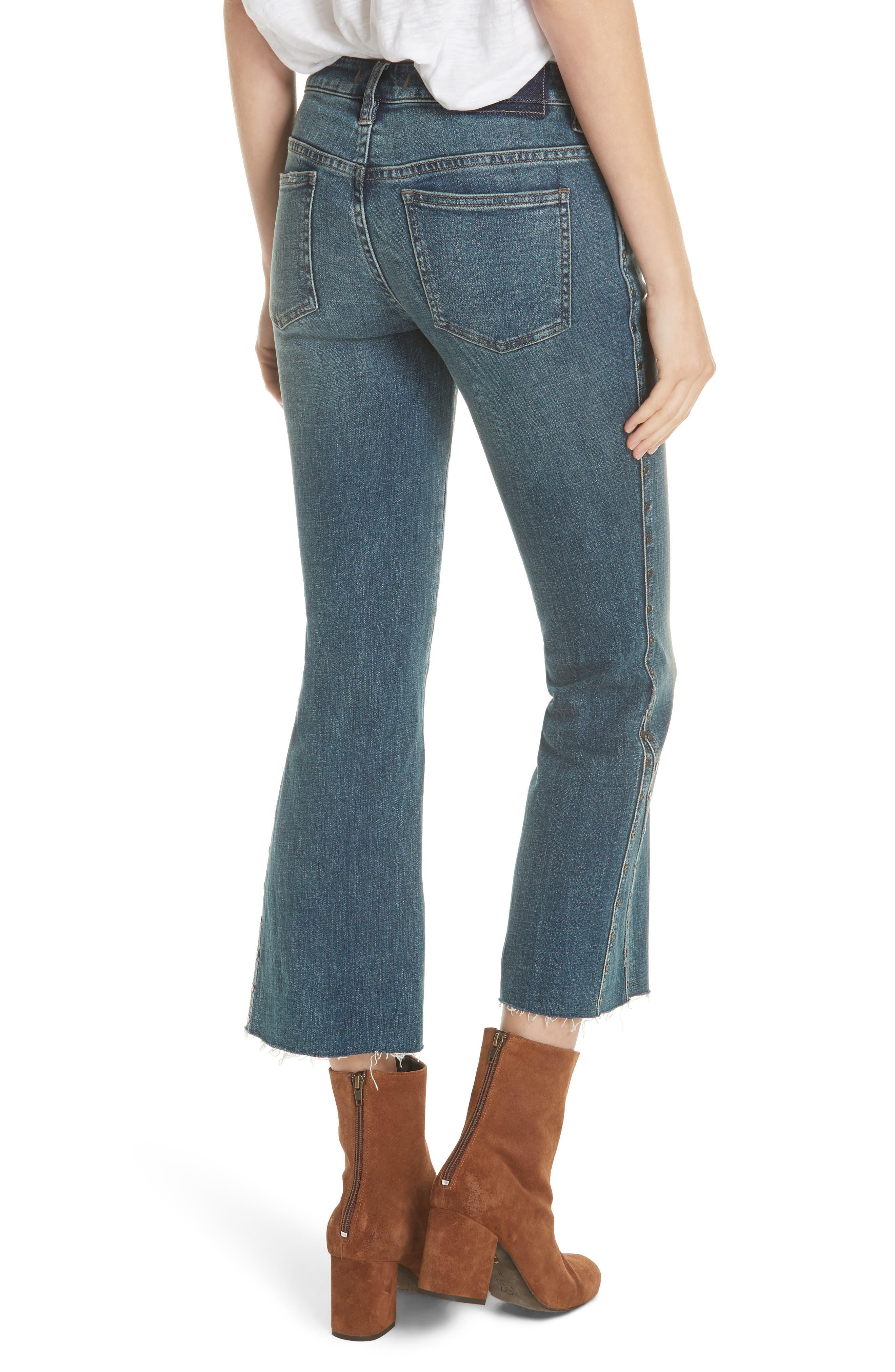 Studded Crop Flare Jeans,                             Alternate thumbnail 2, color,                             Dark Denim