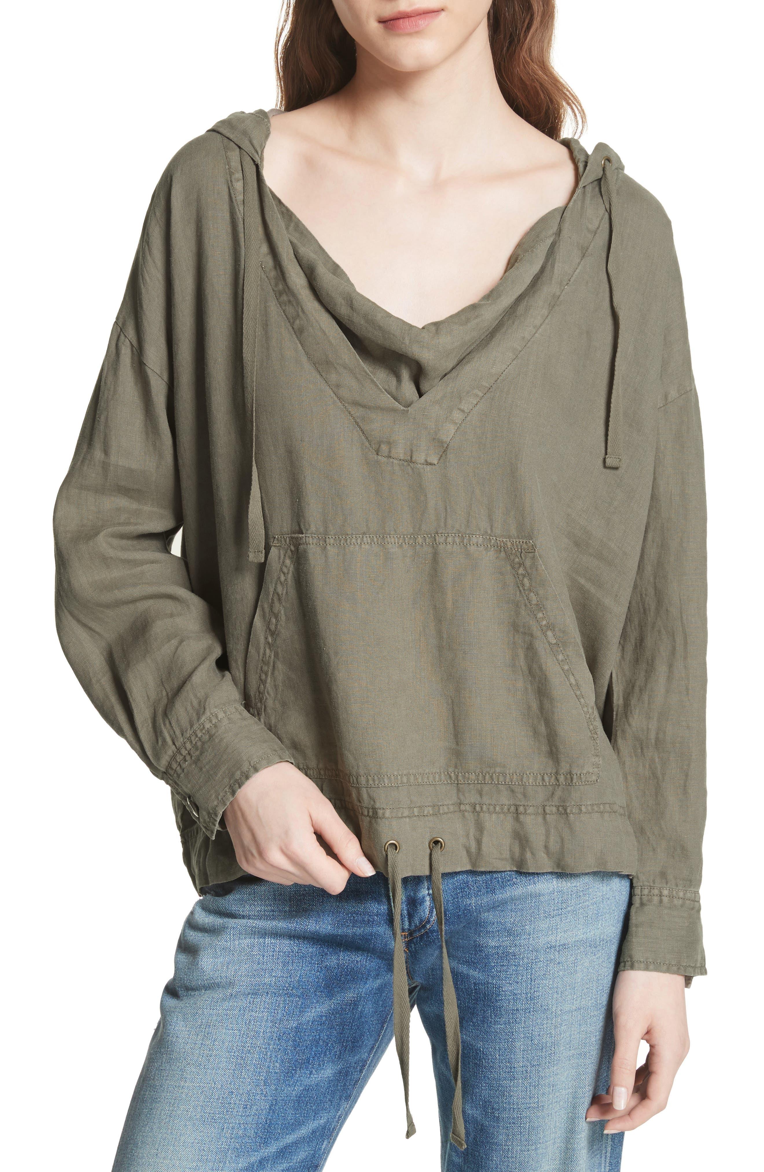 Dalal Linen Hoodie Top,                         Main,                         color, Fatigue