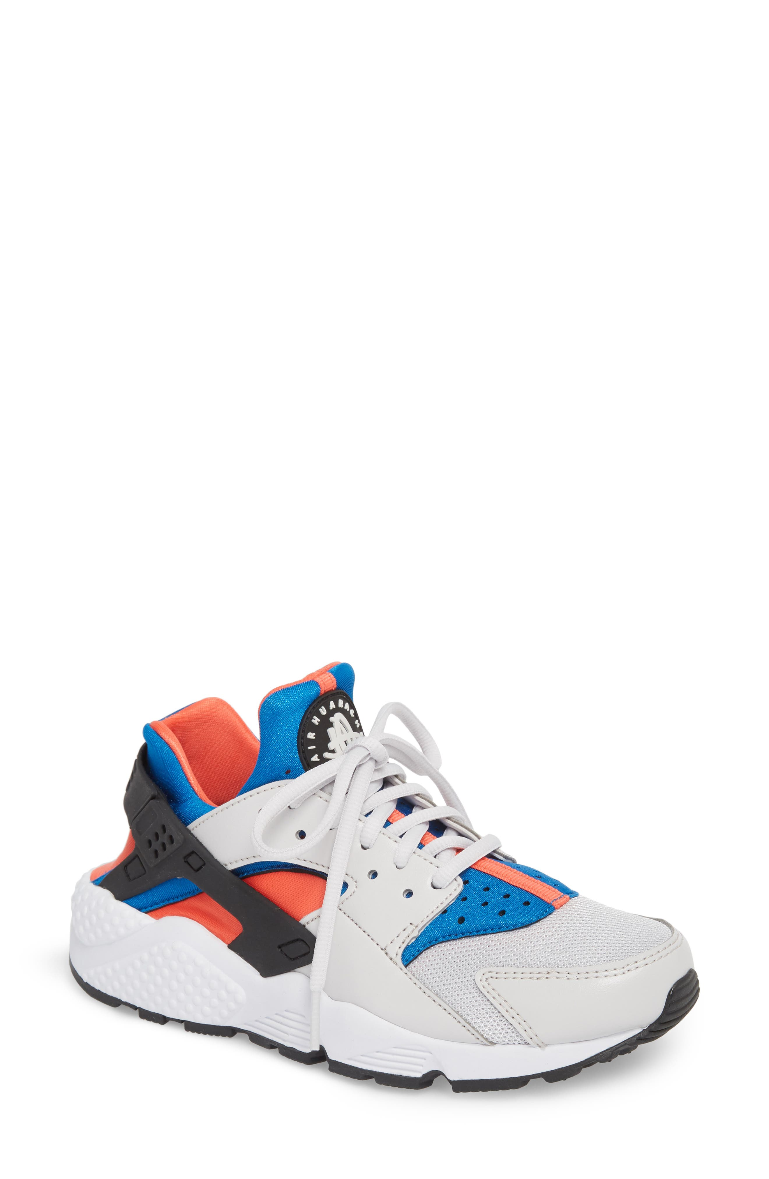 Air Huarache Run Sneaker,                             Main thumbnail 1, color,                             Grey/ Black/ Coral/ Nebula