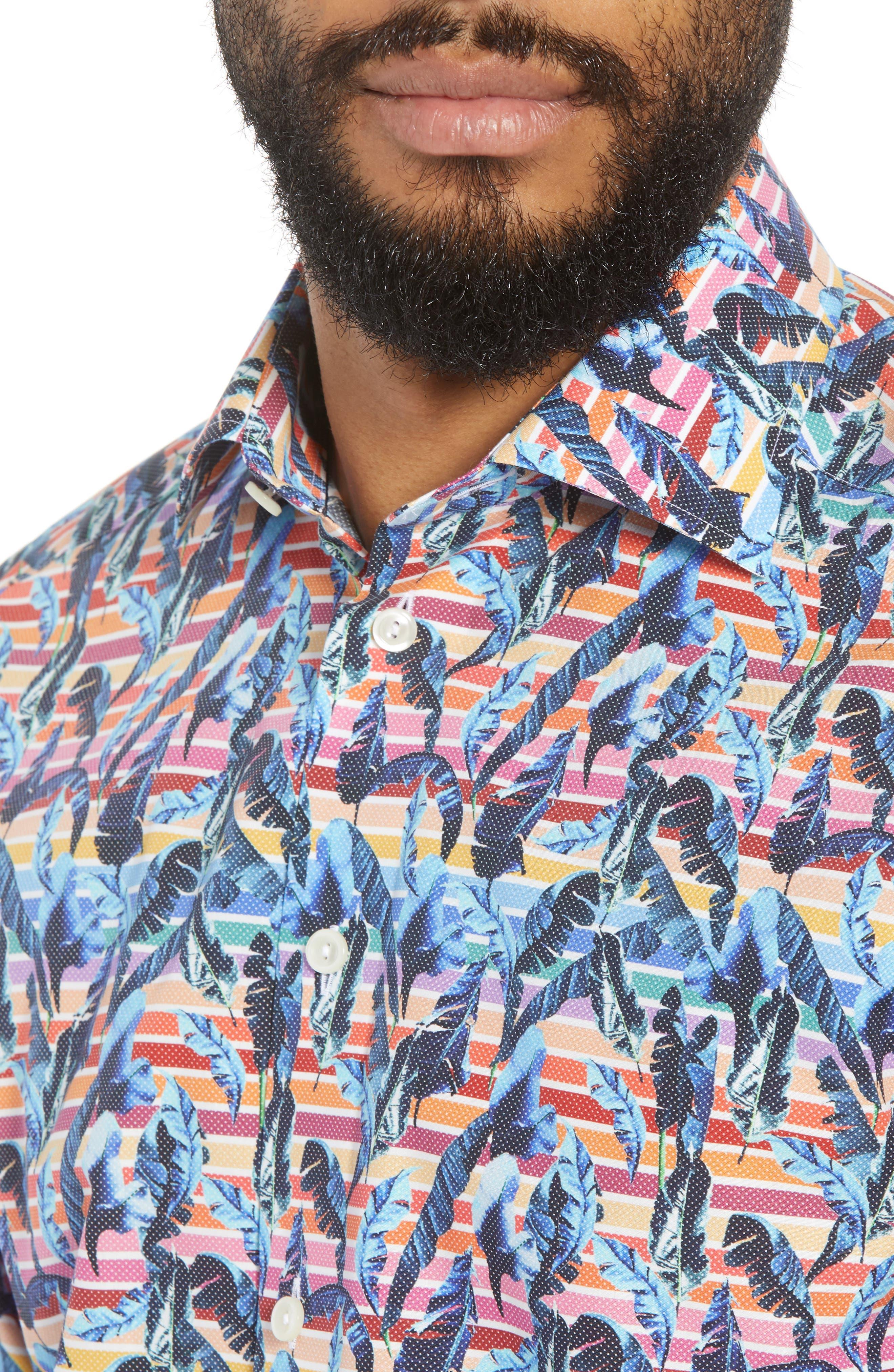 Slim Fit Print Dress Shirt,                             Alternate thumbnail 2, color,                             Red/ Blue